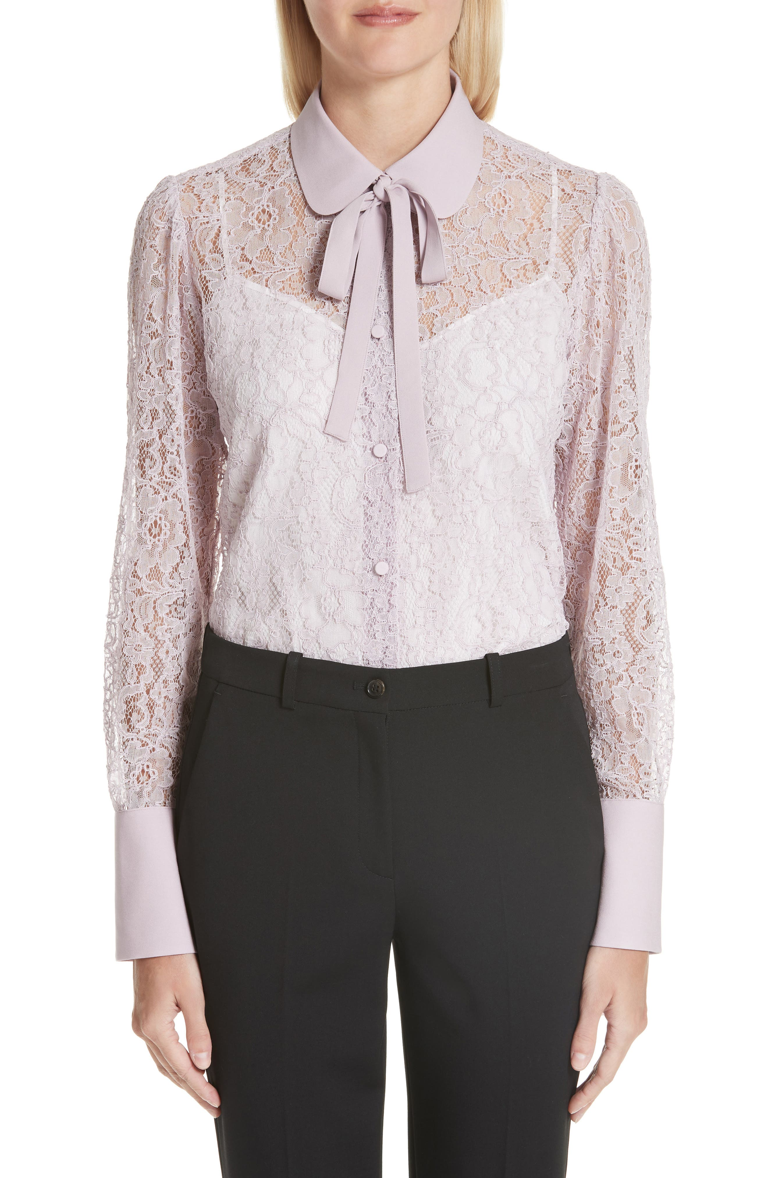 VALENTINO Tie Neck Chantilly Lace Shirt, Main, color, 650