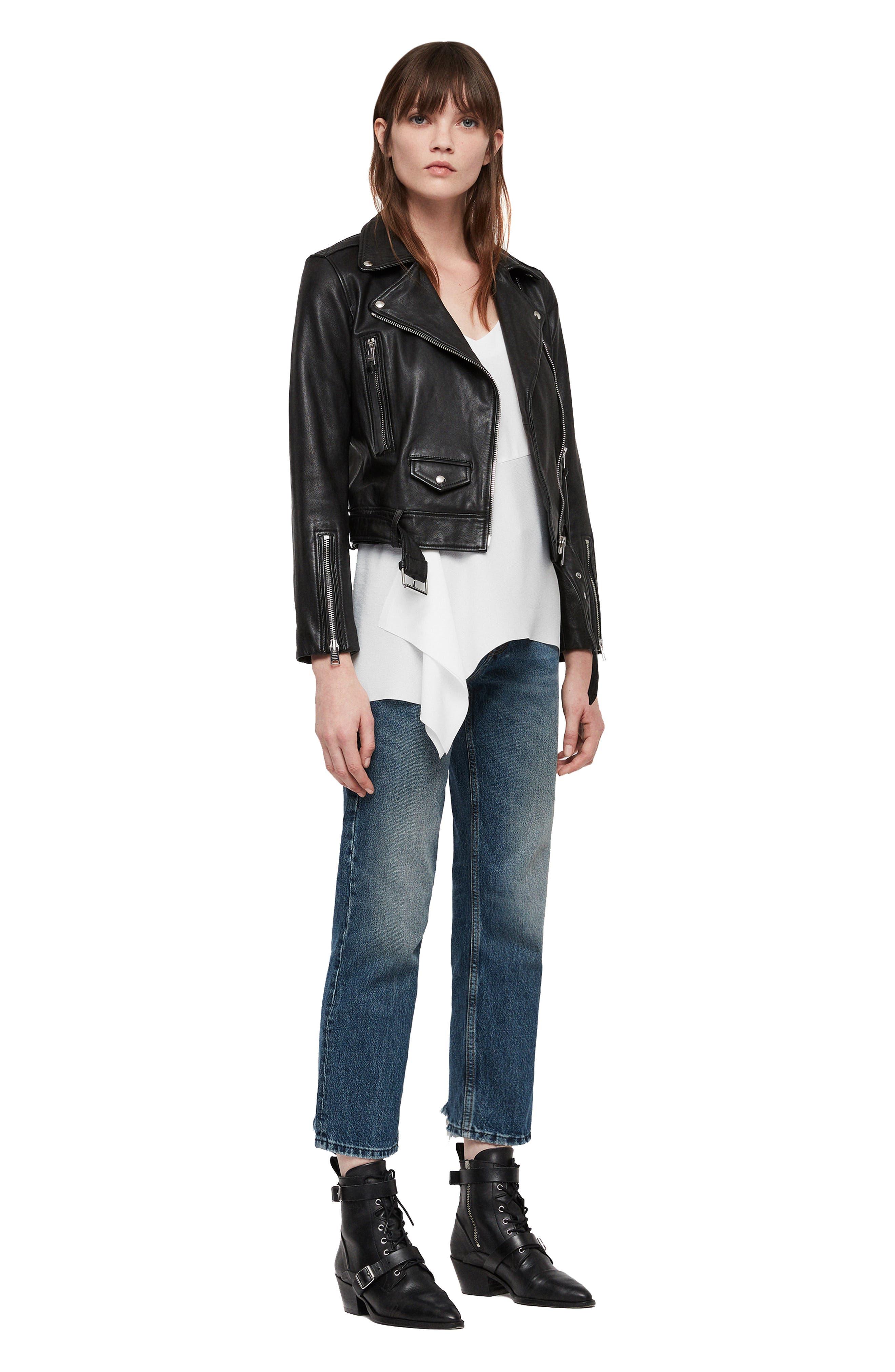 Juno Leather Biker Jacket,                             Alternate thumbnail 8, color,                             BLACK