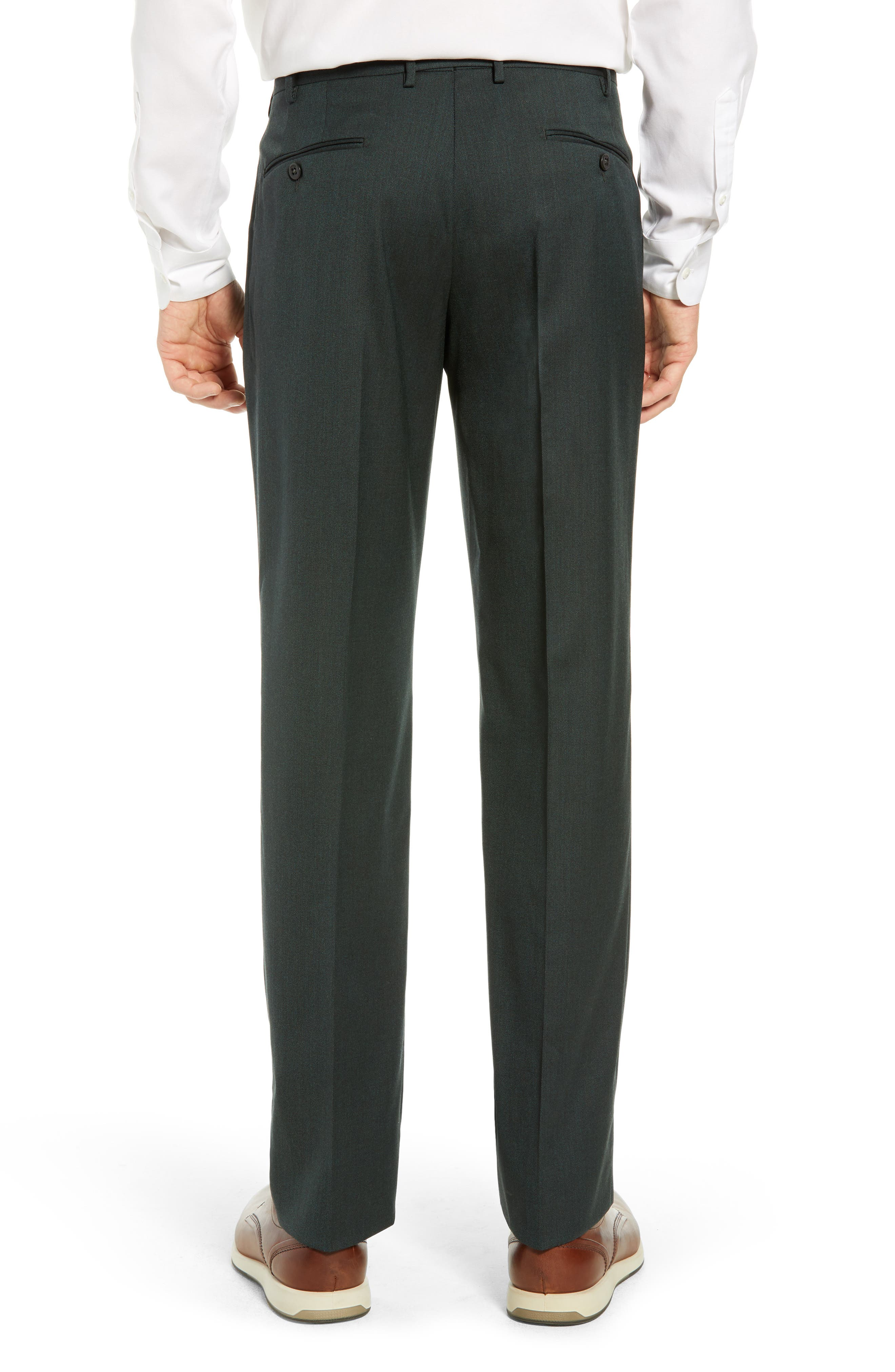 Parker Flat Front Stretch Twill Wool Trousers,                             Alternate thumbnail 2, color,                             OLIVE