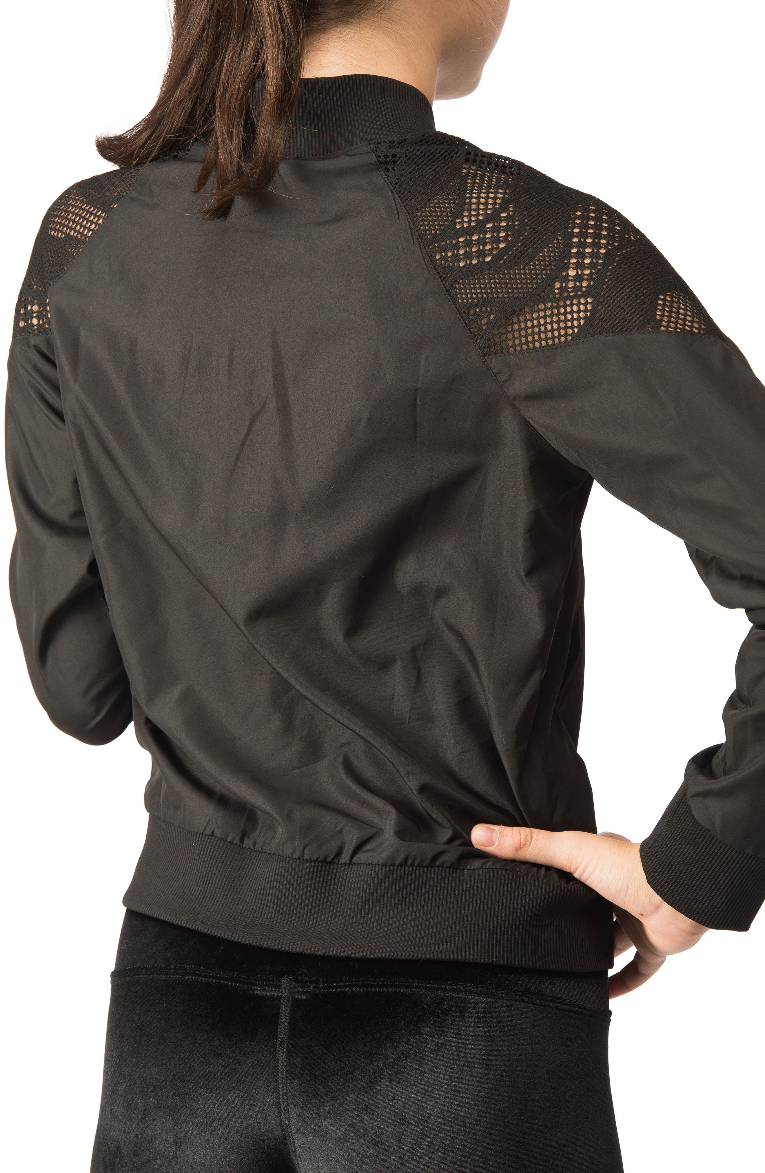 Lace Inset Bomber Jacket,                             Alternate thumbnail 3, color,                             001