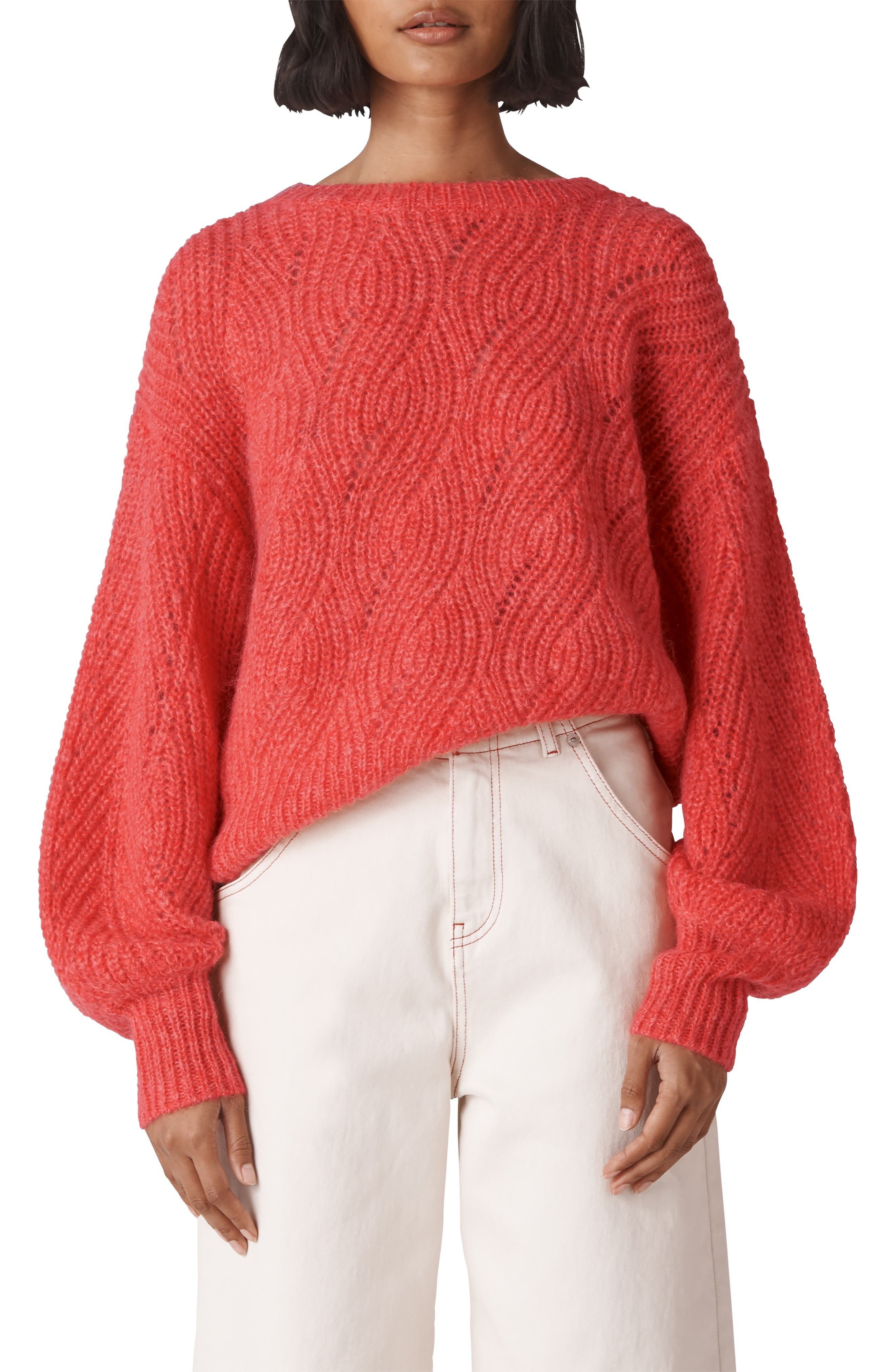Sophia Wool Blend Sweater,                             Main thumbnail 1, color,                             RED