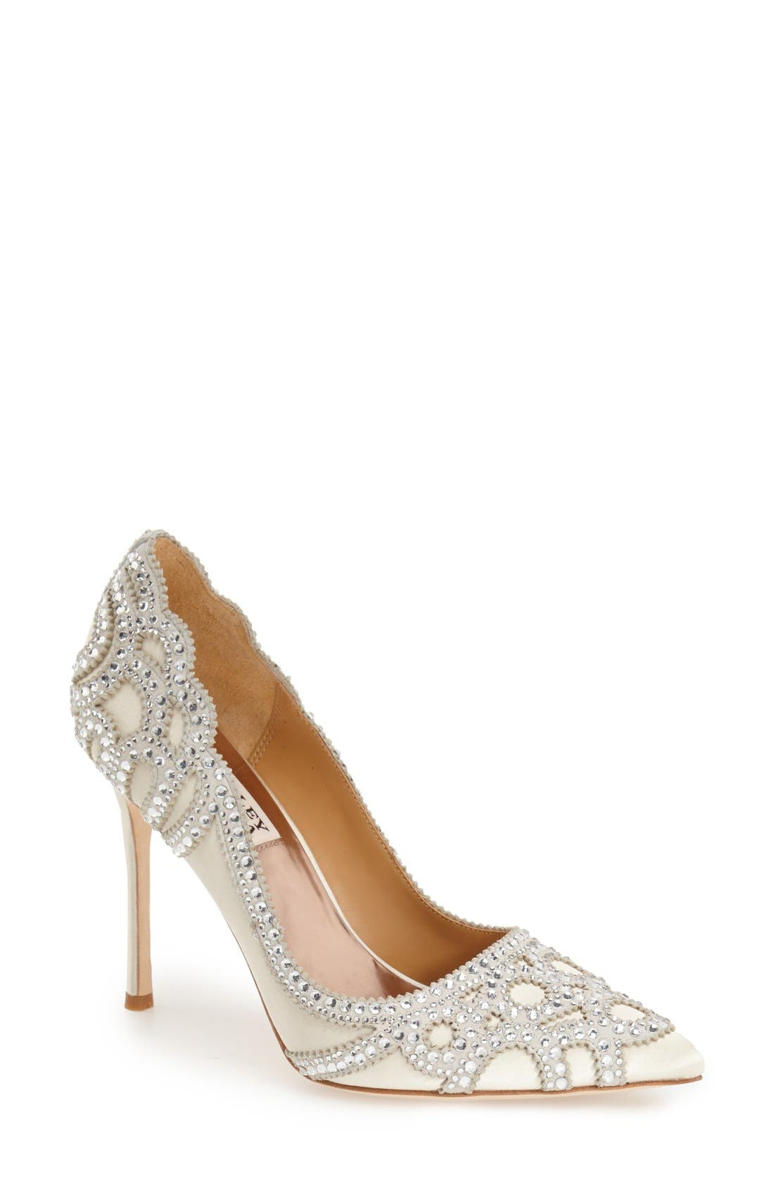 BadgleyMischka'Rouge' Pointy Toe Pump,                         Main,                         color, IVORY