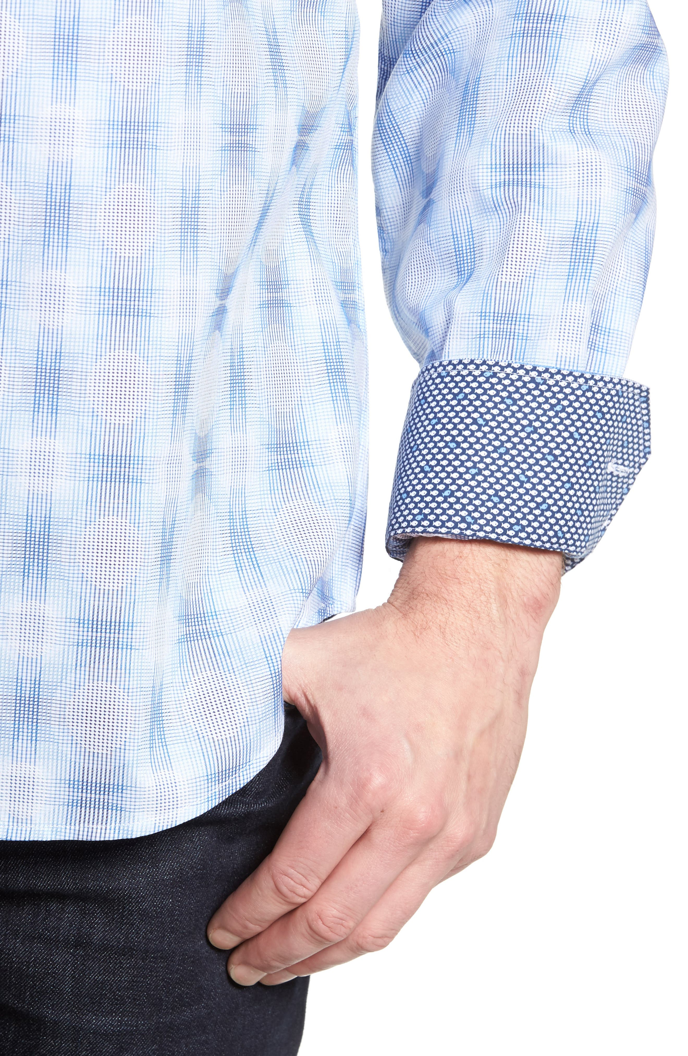 Classic Fit Plaid Sport Shirt,                             Alternate thumbnail 4, color,                             422