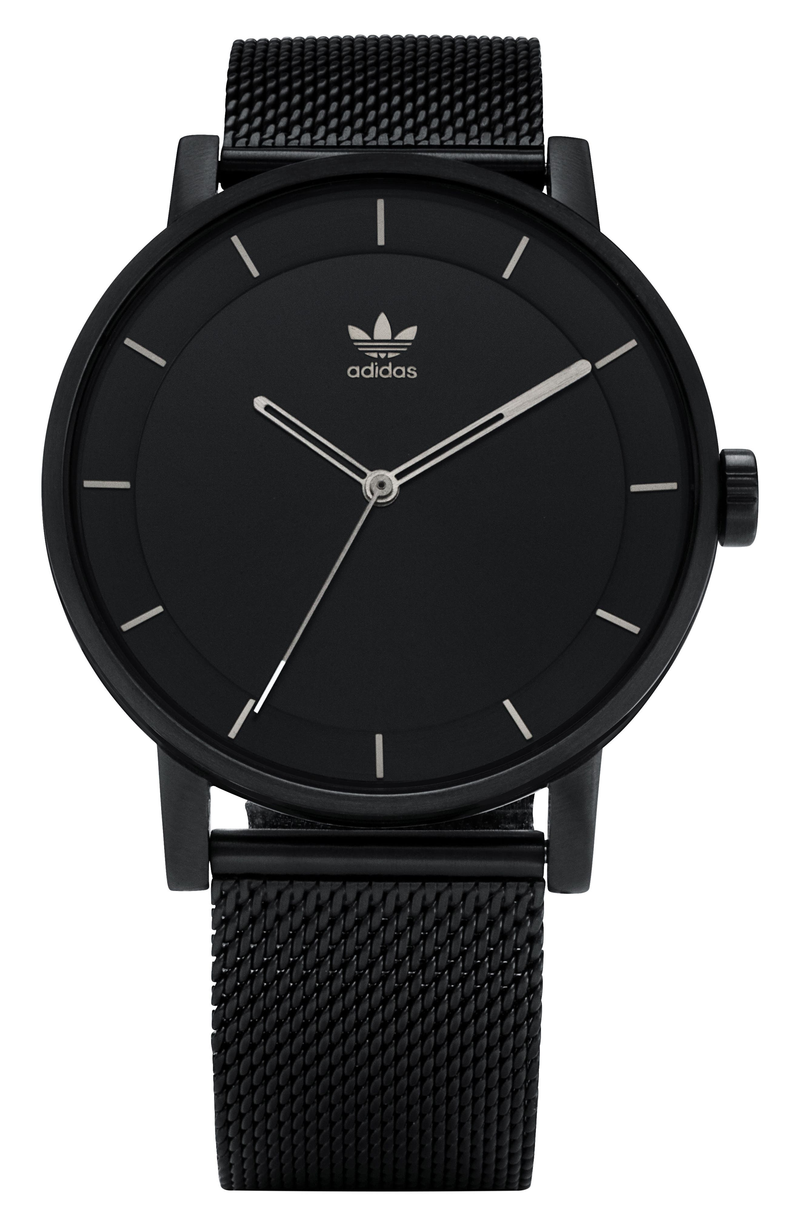 ADIDAS,                             District Milanese Bracelet Watch, 40mm,                             Main thumbnail 1, color,                             001