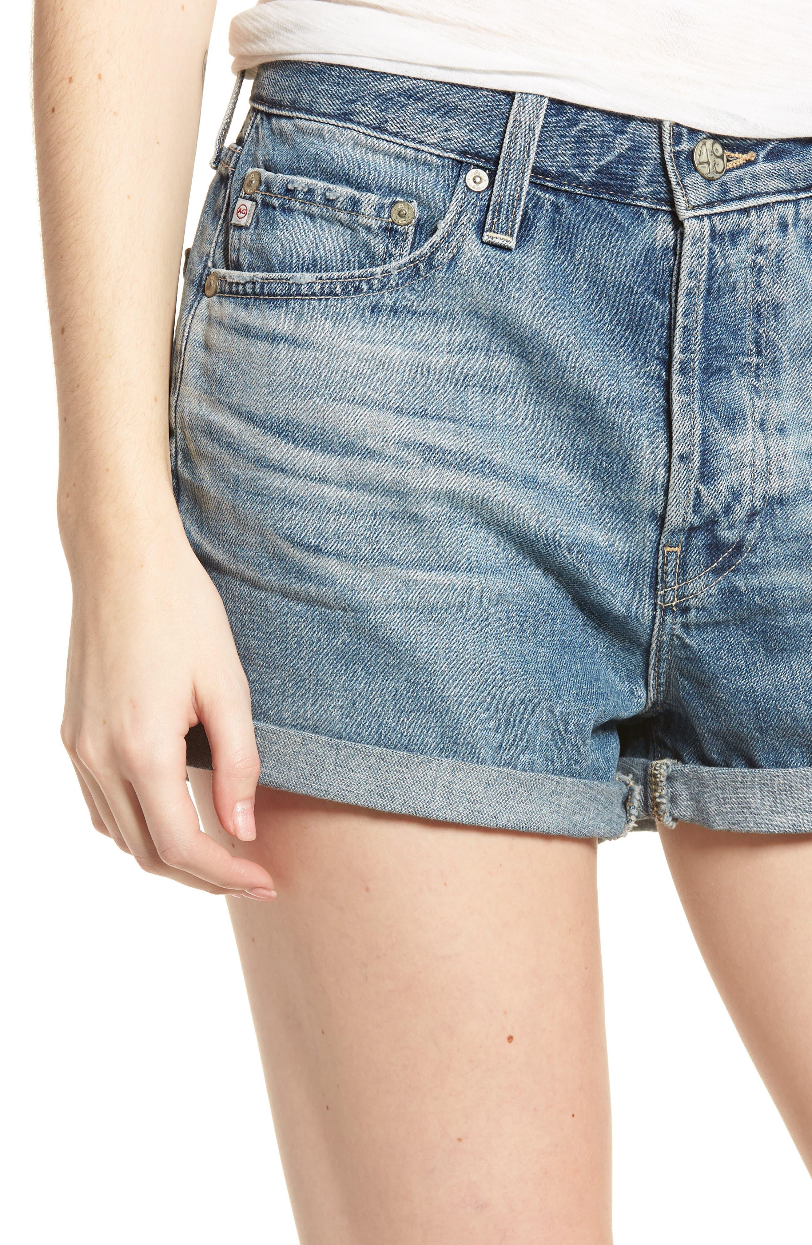 Alex Cuff Denim Boyfriend Shorts,                             Alternate thumbnail 4, color,