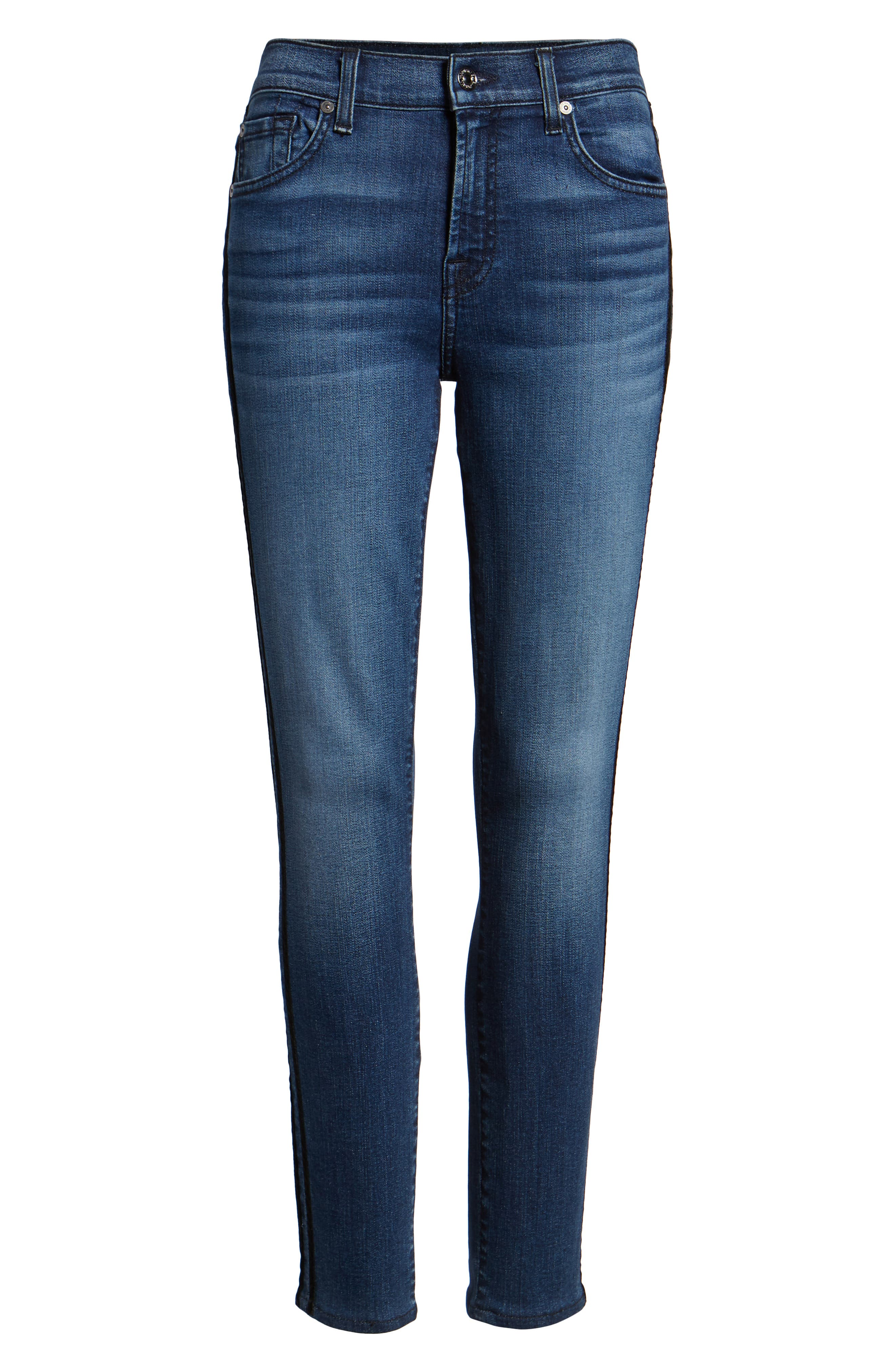 Ankle Skinny Double Stripes Jeans,                             Alternate thumbnail 7, color,                             400