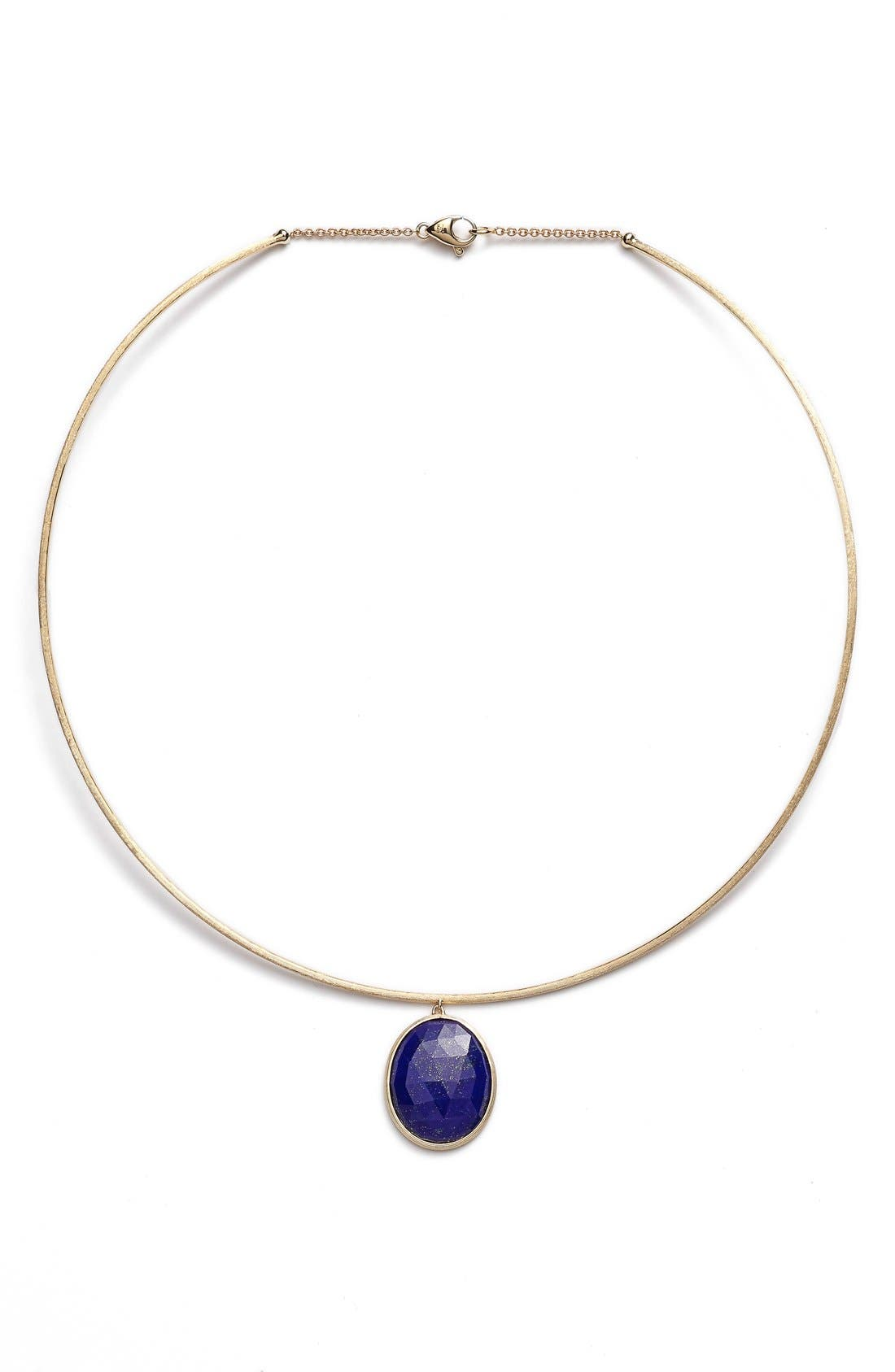 'Lunaria' Lapis Collar Necklace,                             Main thumbnail 1, color,                             YELLOW GOLD/ LAPIS