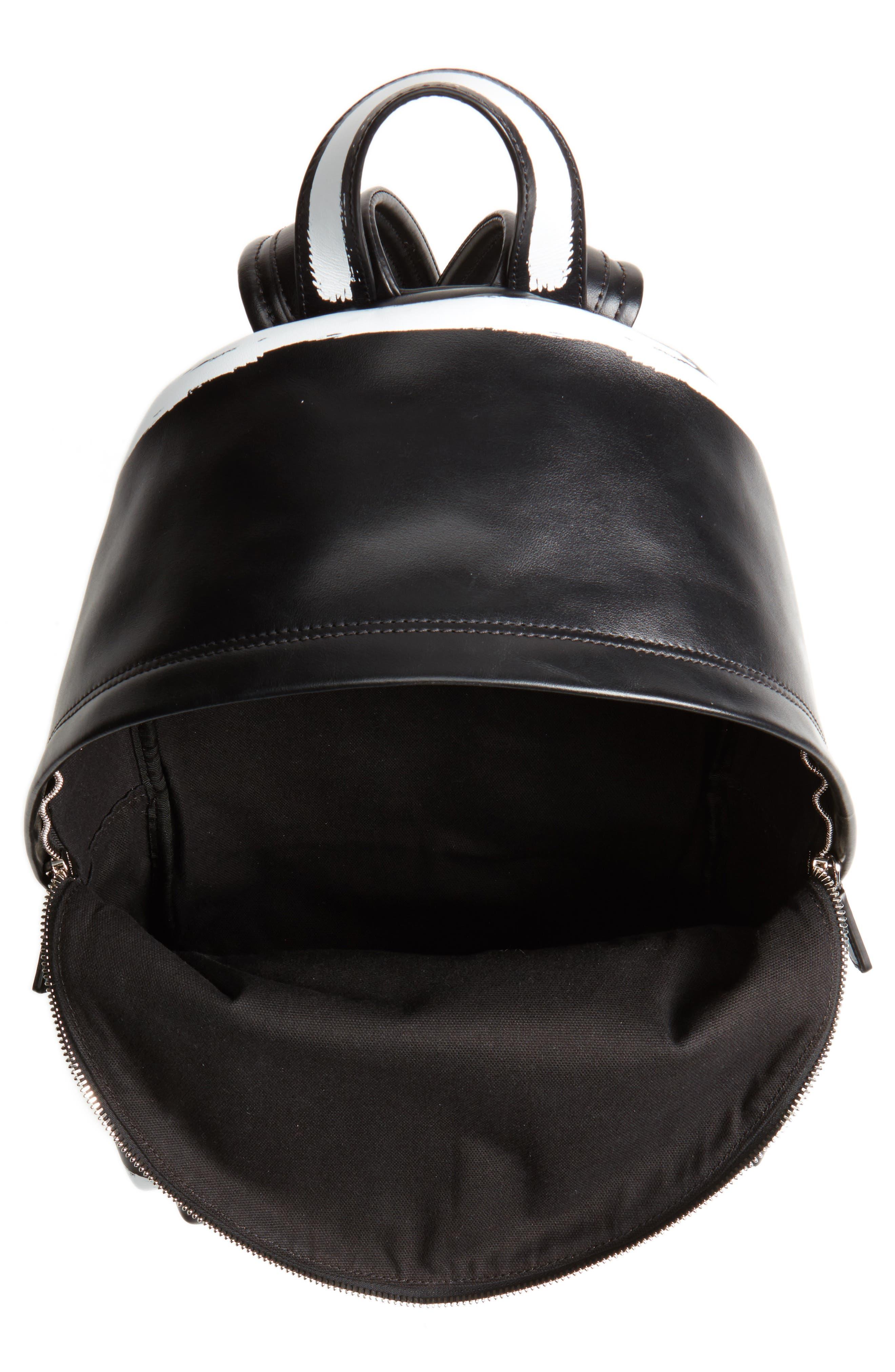 Graffiti Calfskin Leather Backpack,                             Alternate thumbnail 4, color,                             BLACK/ WHITE