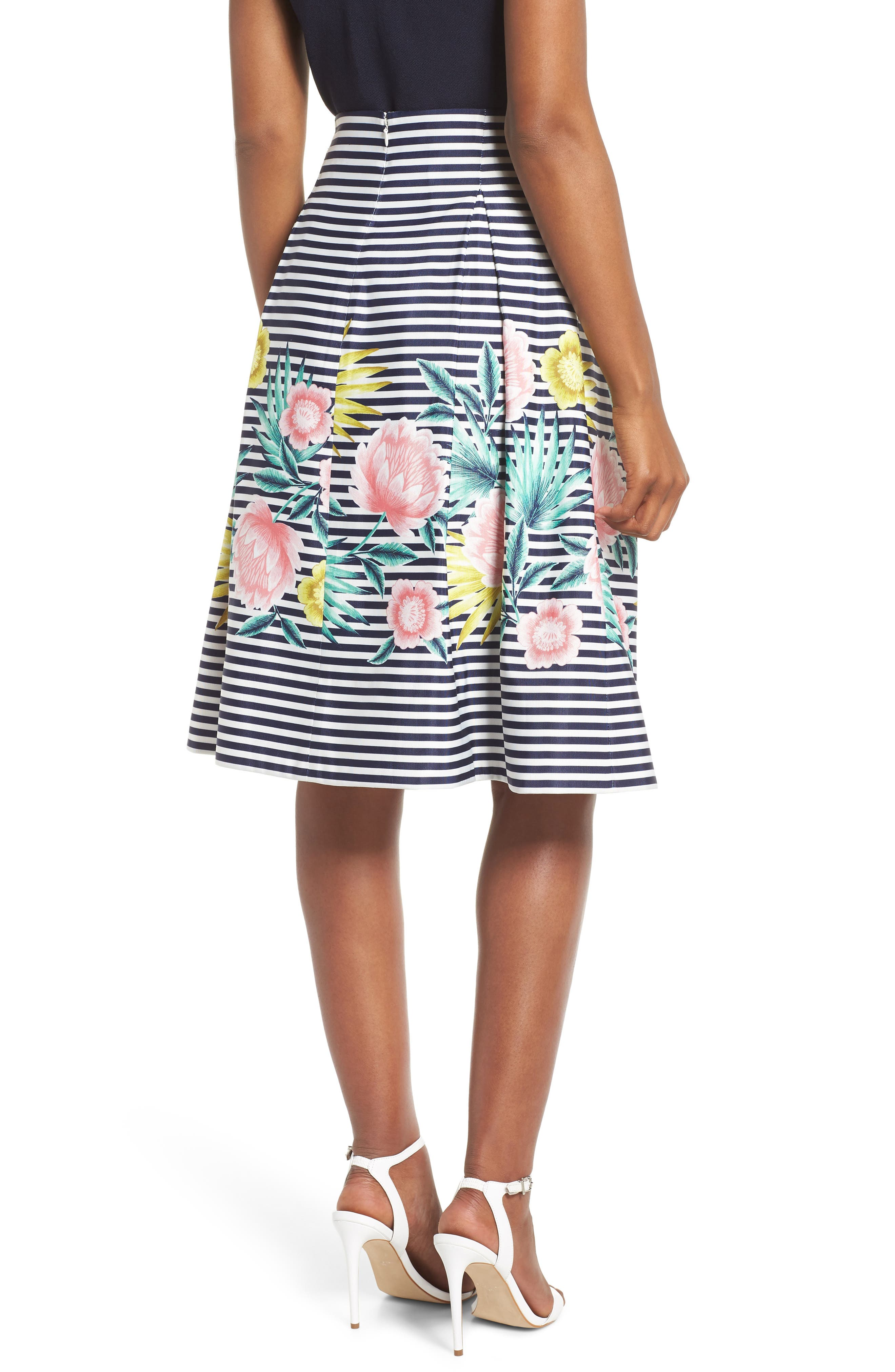 Floral & Stripe A-Line Skirt,                             Alternate thumbnail 2, color,                             NAVY