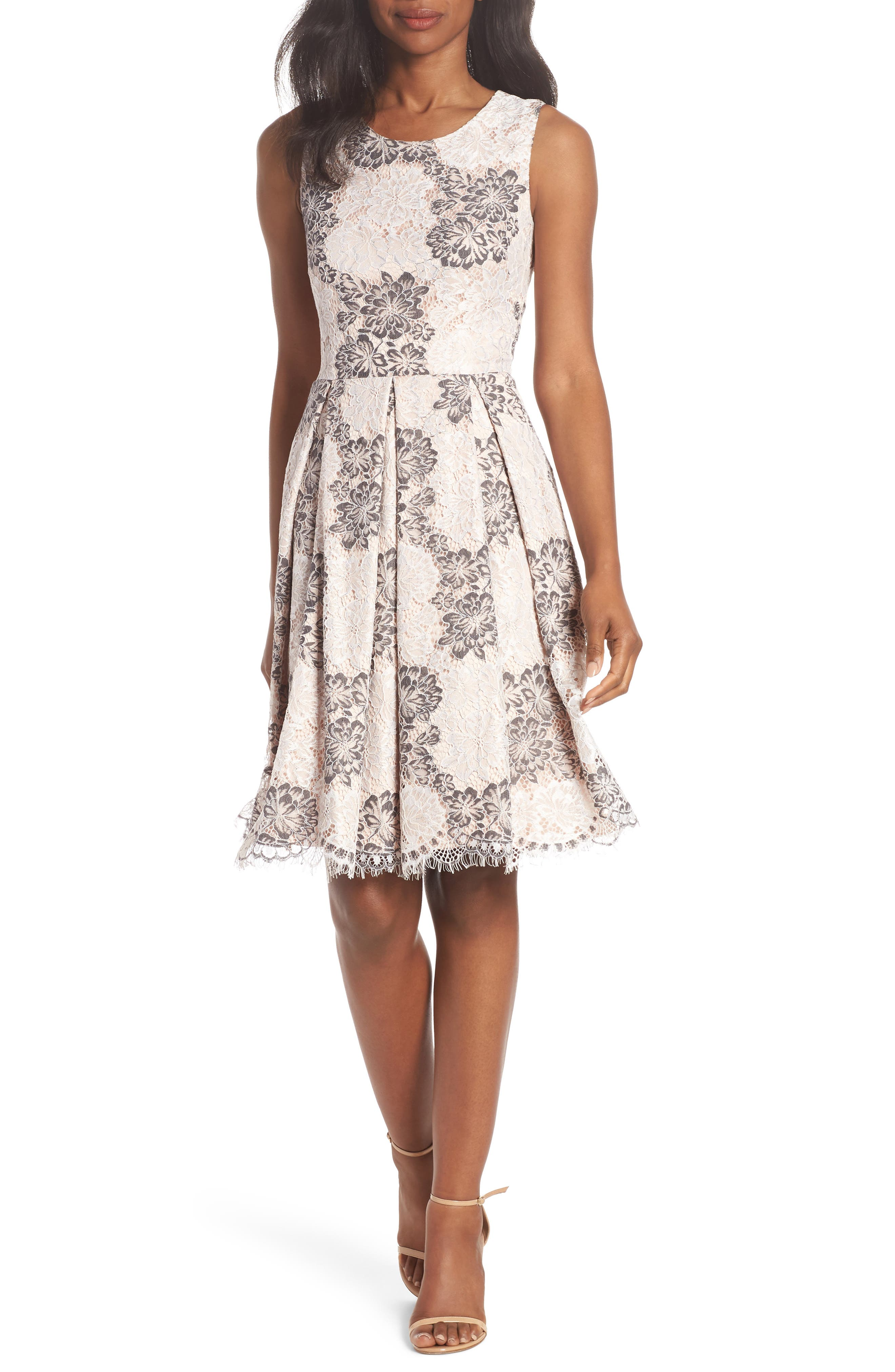 ELIZA J Sleeveless Lace Fit & Flare Dress, Main, color, TAUPE MULT