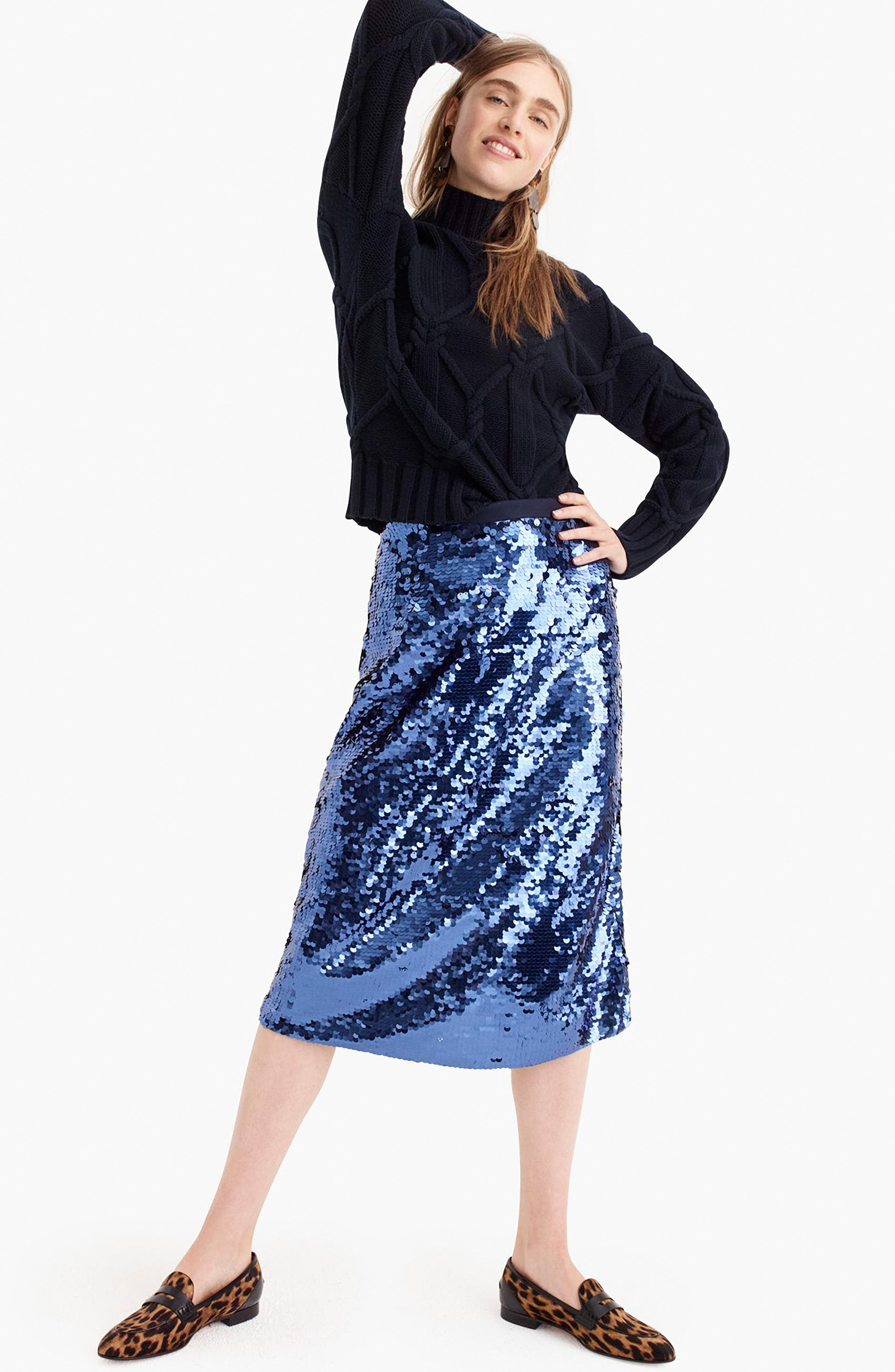 Sequin Midi Skirt with Tie,                             Alternate thumbnail 6, color,                             NAVY
