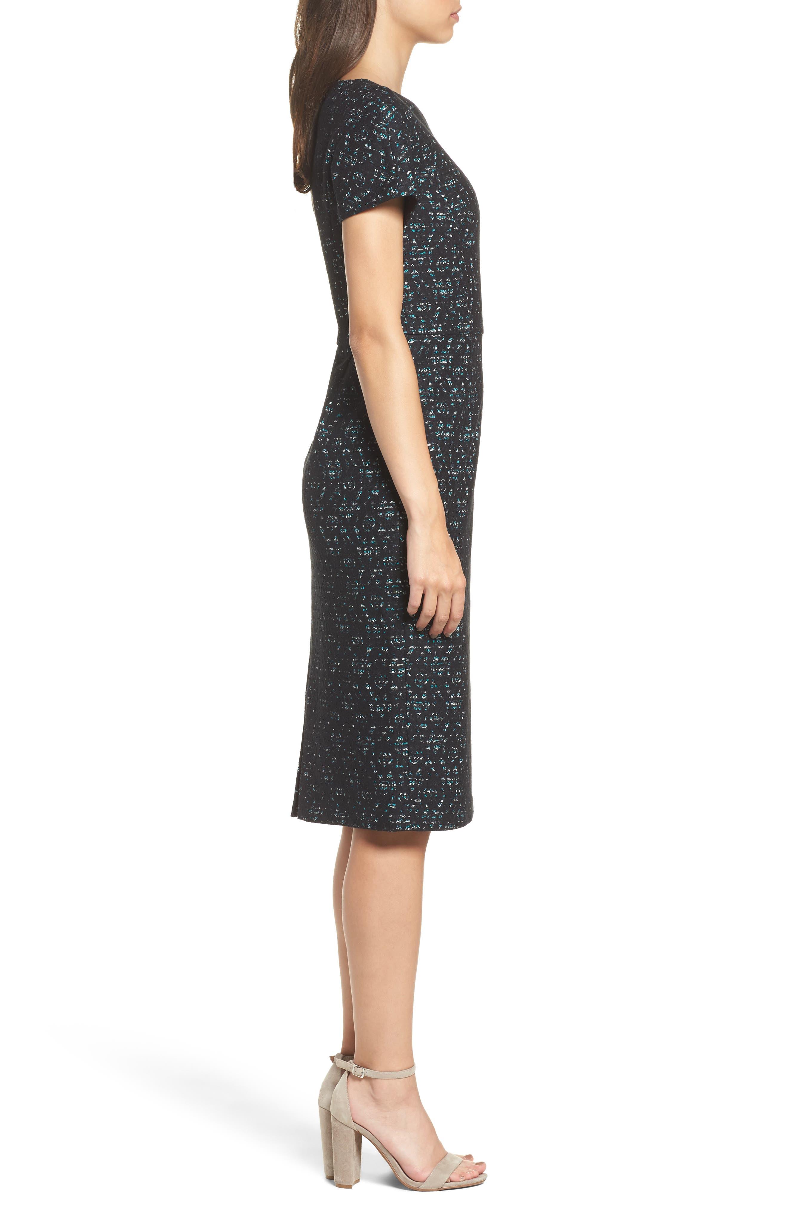 Bonded Lace Sheath Dress,                             Alternate thumbnail 3, color,                             400