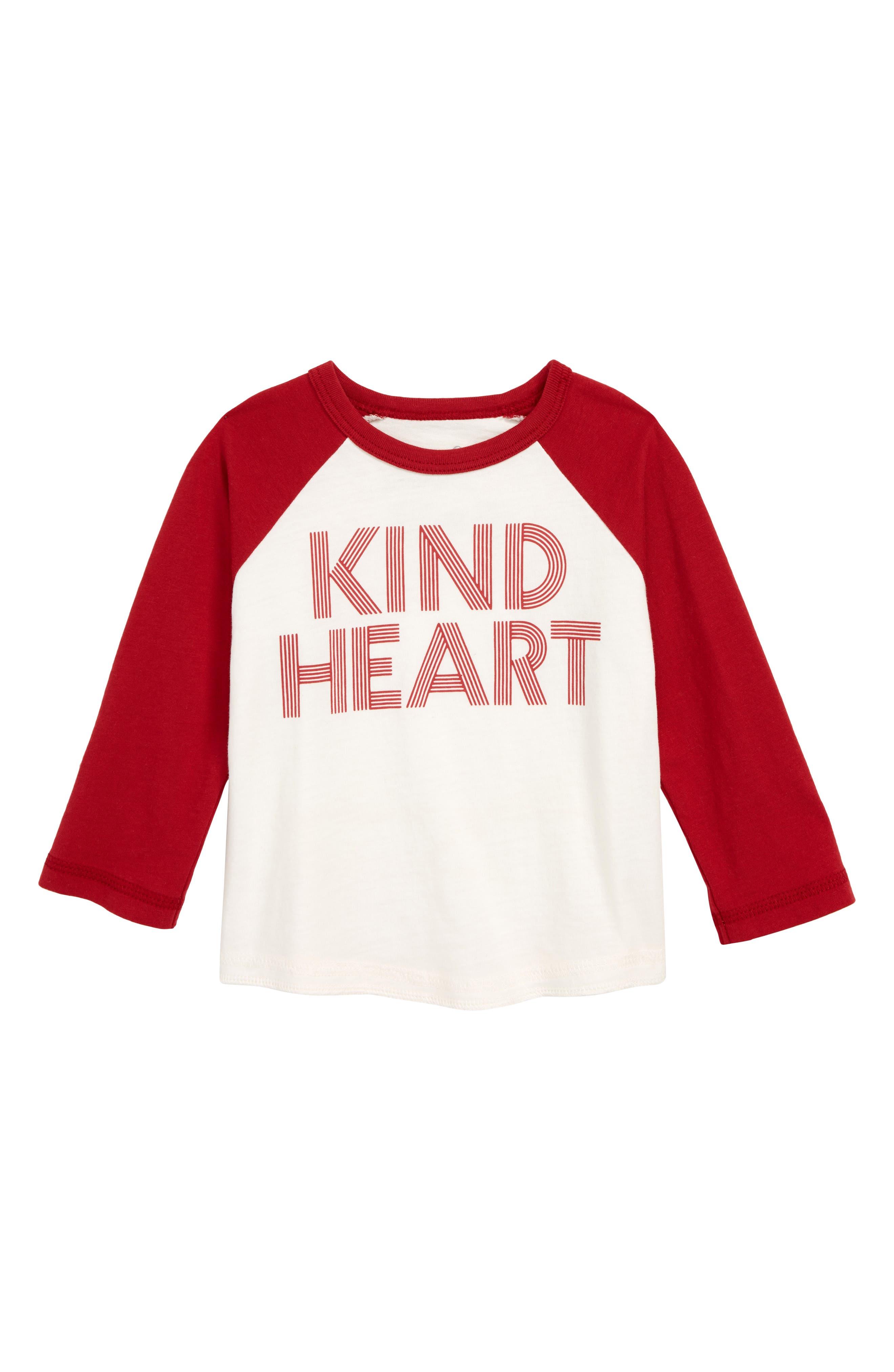 Kind Heart Graphic Baseball T-Shirt,                             Main thumbnail 1, color,                             IVORY