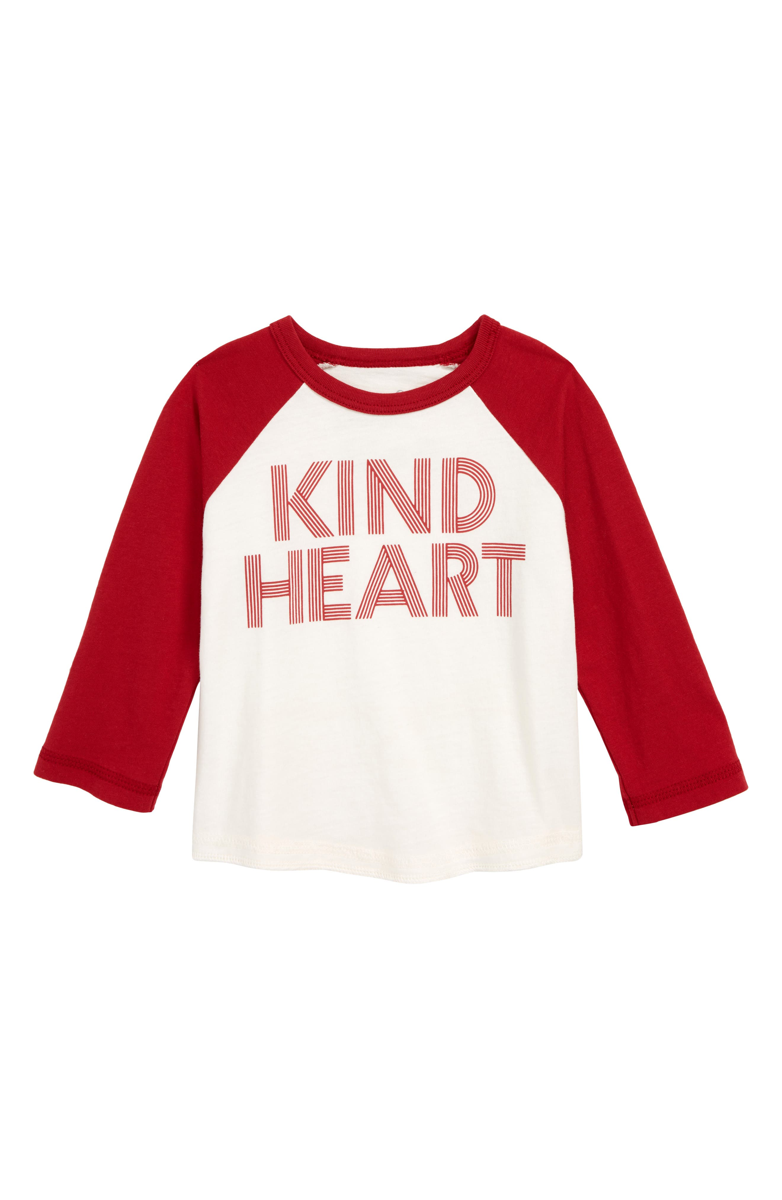 Kind Heart Graphic Baseball T-Shirt, Main, color, IVORY
