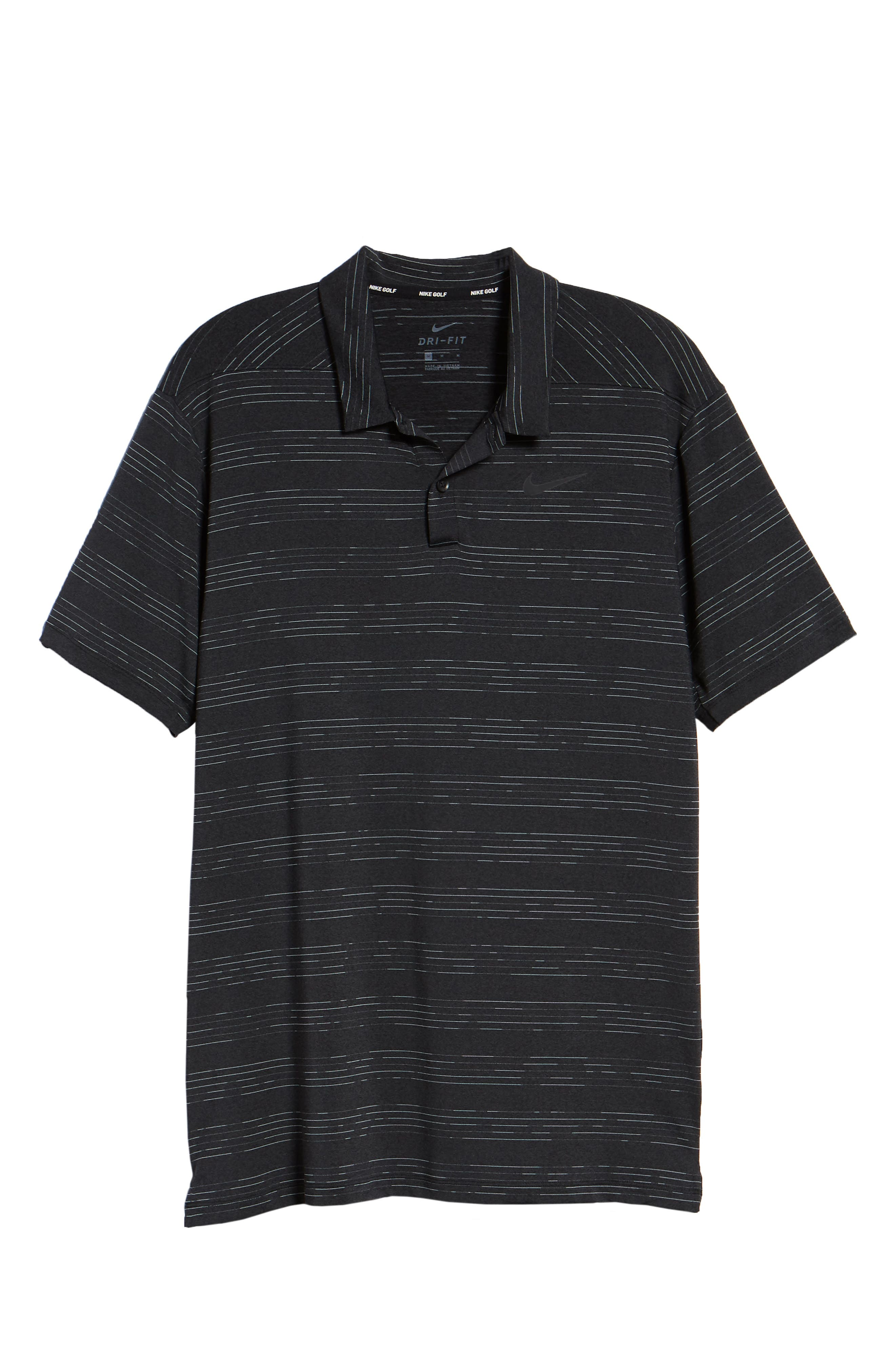 Dry Heather Stripe Polo,                             Alternate thumbnail 6, color,                             ANTHRACITE/ BLACK/ WOLF GREY