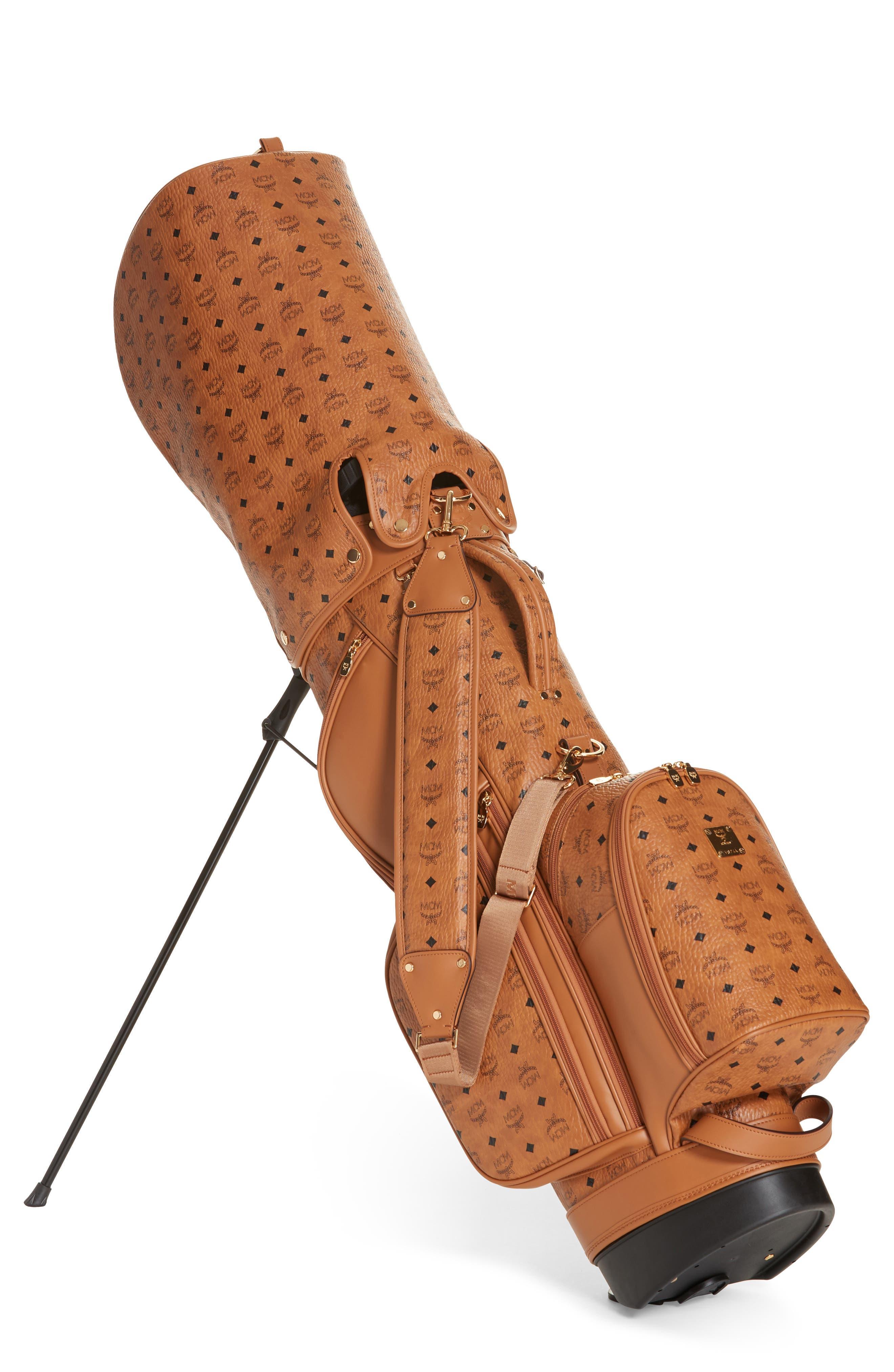 Vintage Visetos Coated Canvas Golf Bag,                         Main,                         color, COGNAC