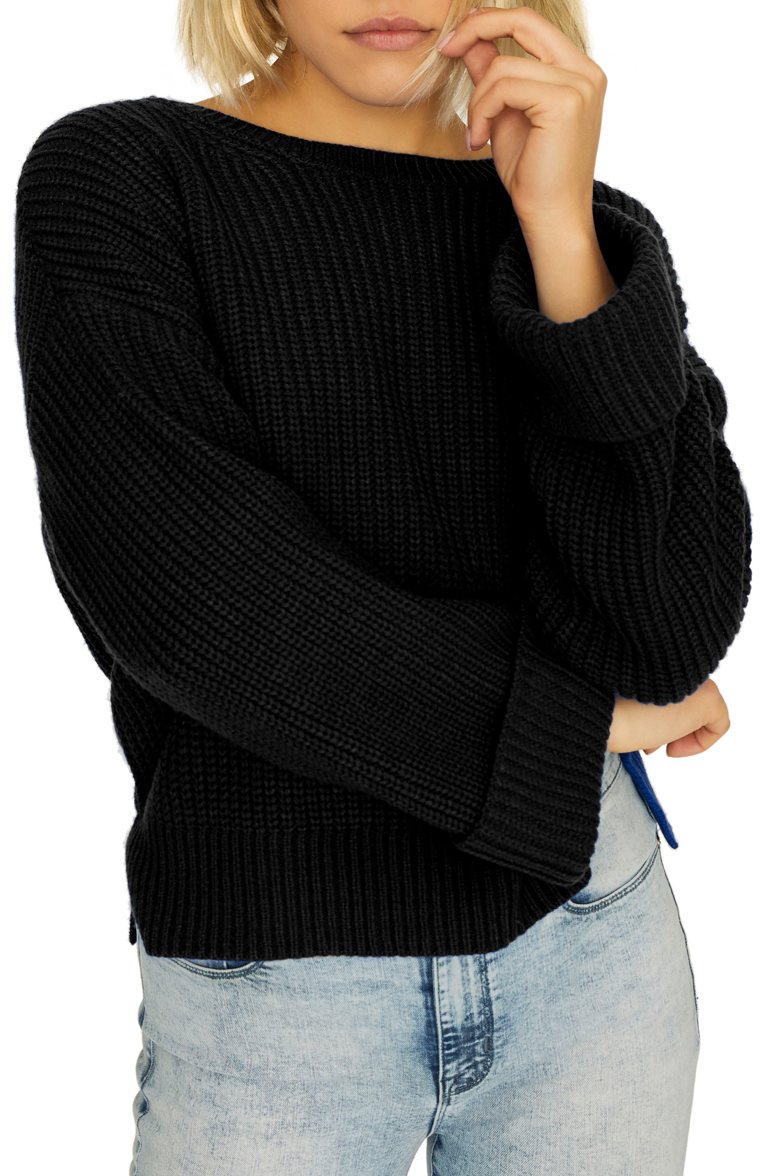 Bell Sleeve Shaker Sweater,                             Main thumbnail 1, color,                             BLACK