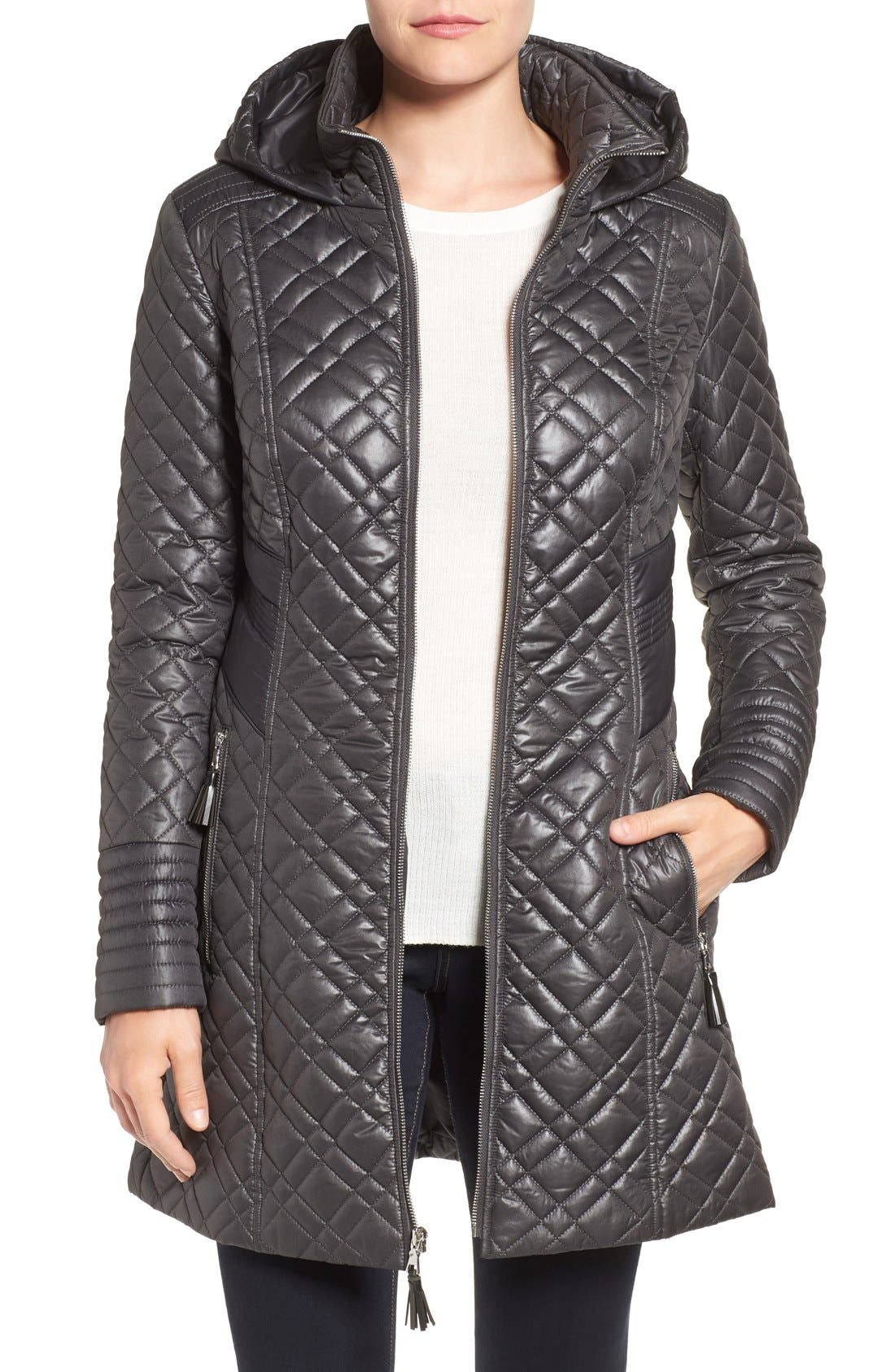 Tassel Detail Hooded Mix Quilt Coat,                             Main thumbnail 4, color,