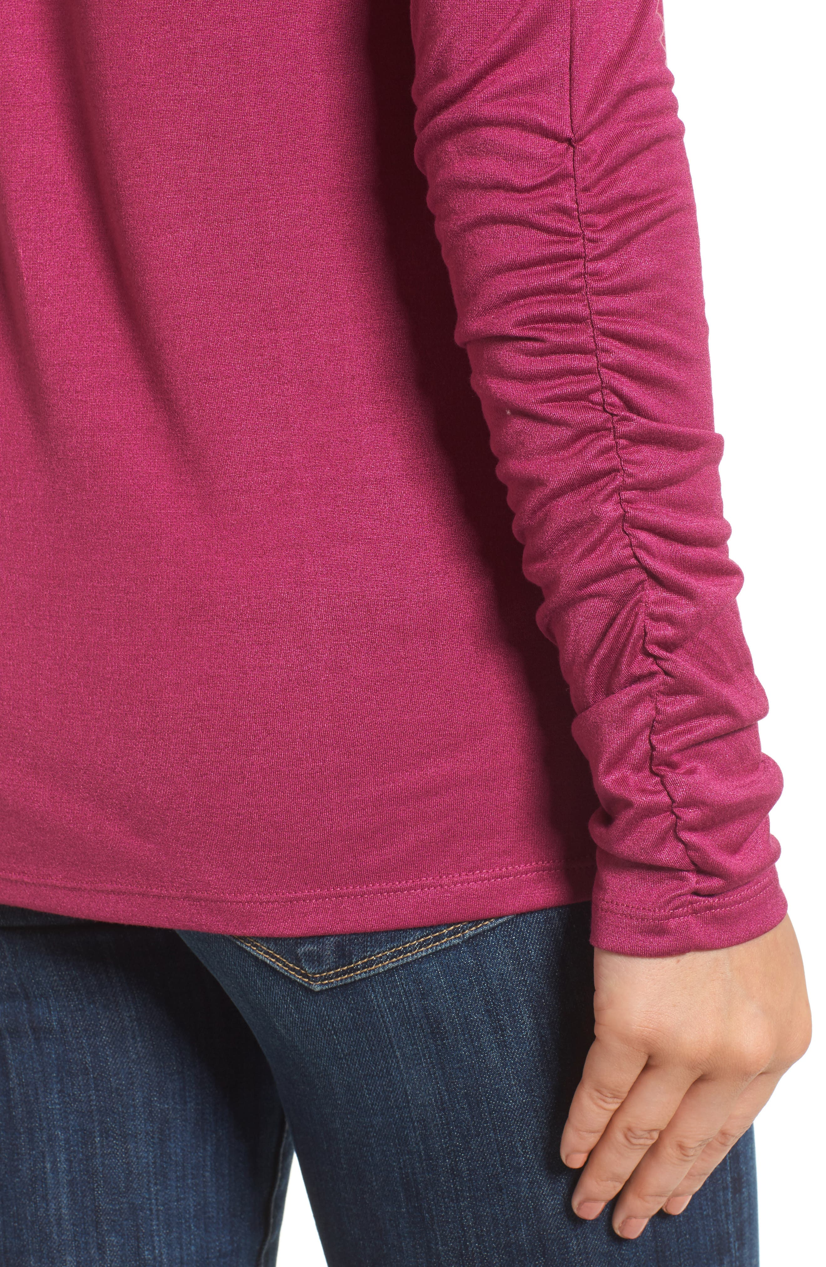 Ruched Sleeve Tee,                             Alternate thumbnail 16, color,