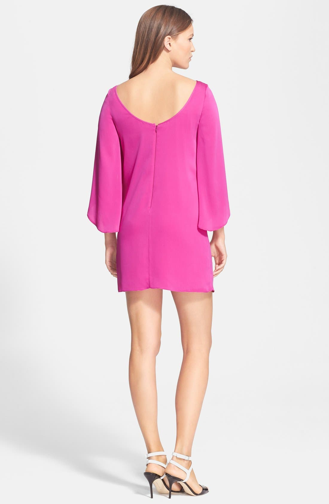 Butterfly Sleeve Stretch Silk Crepe Minidress,                             Alternate thumbnail 14, color,