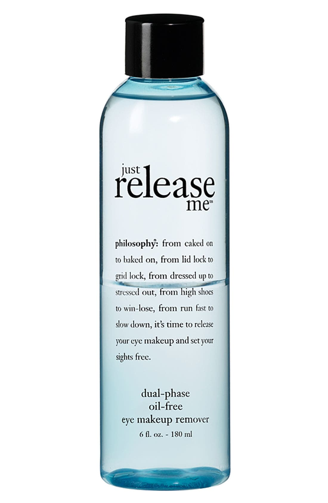 PHILOSOPHY 'just release me' dual-phase oil-free eye makeup remover, Main, color, 000