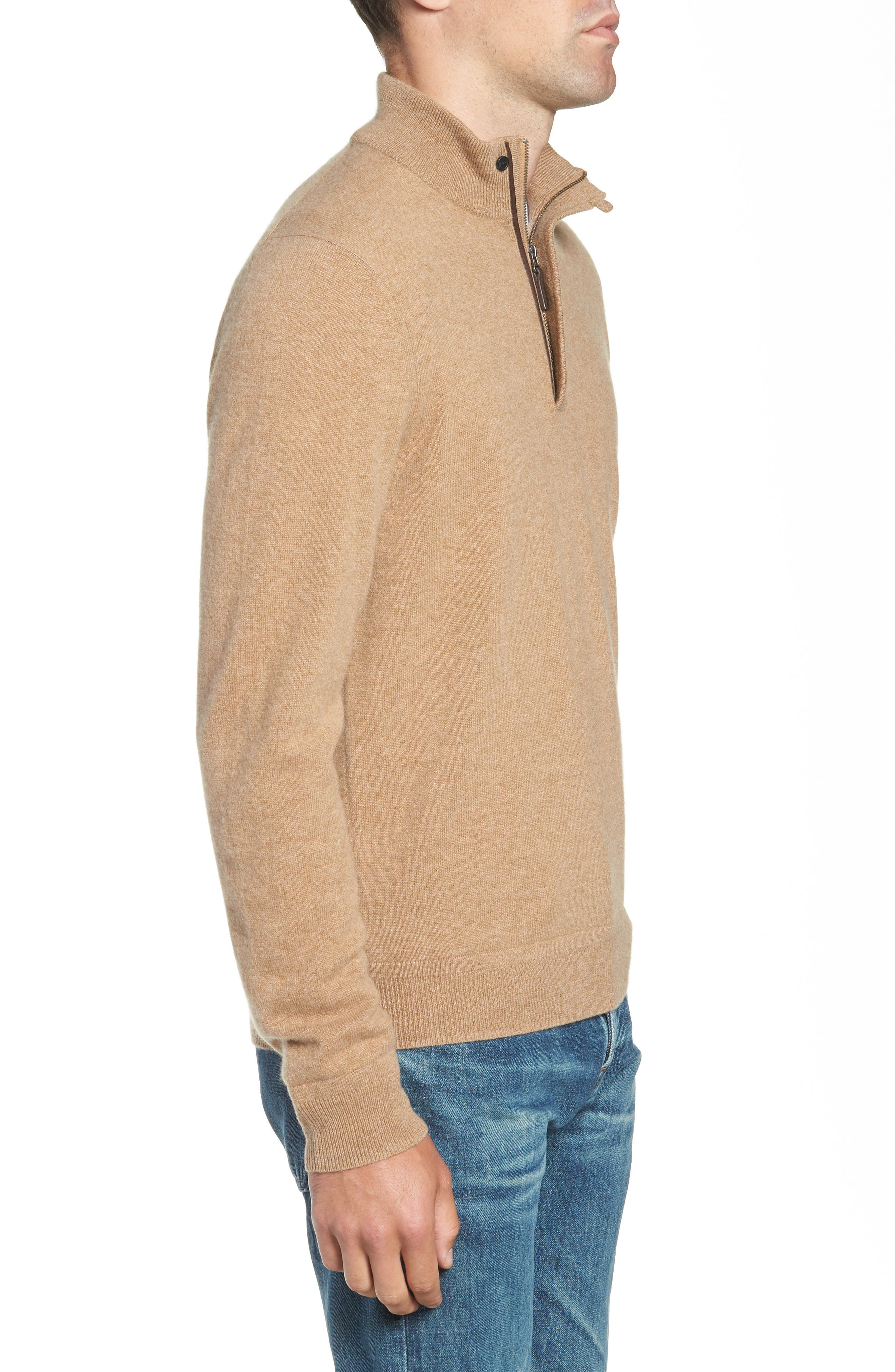 Regular Fit Quarter Zip Cashmere Sweater,                             Alternate thumbnail 3, color,                             BROWN BEAR