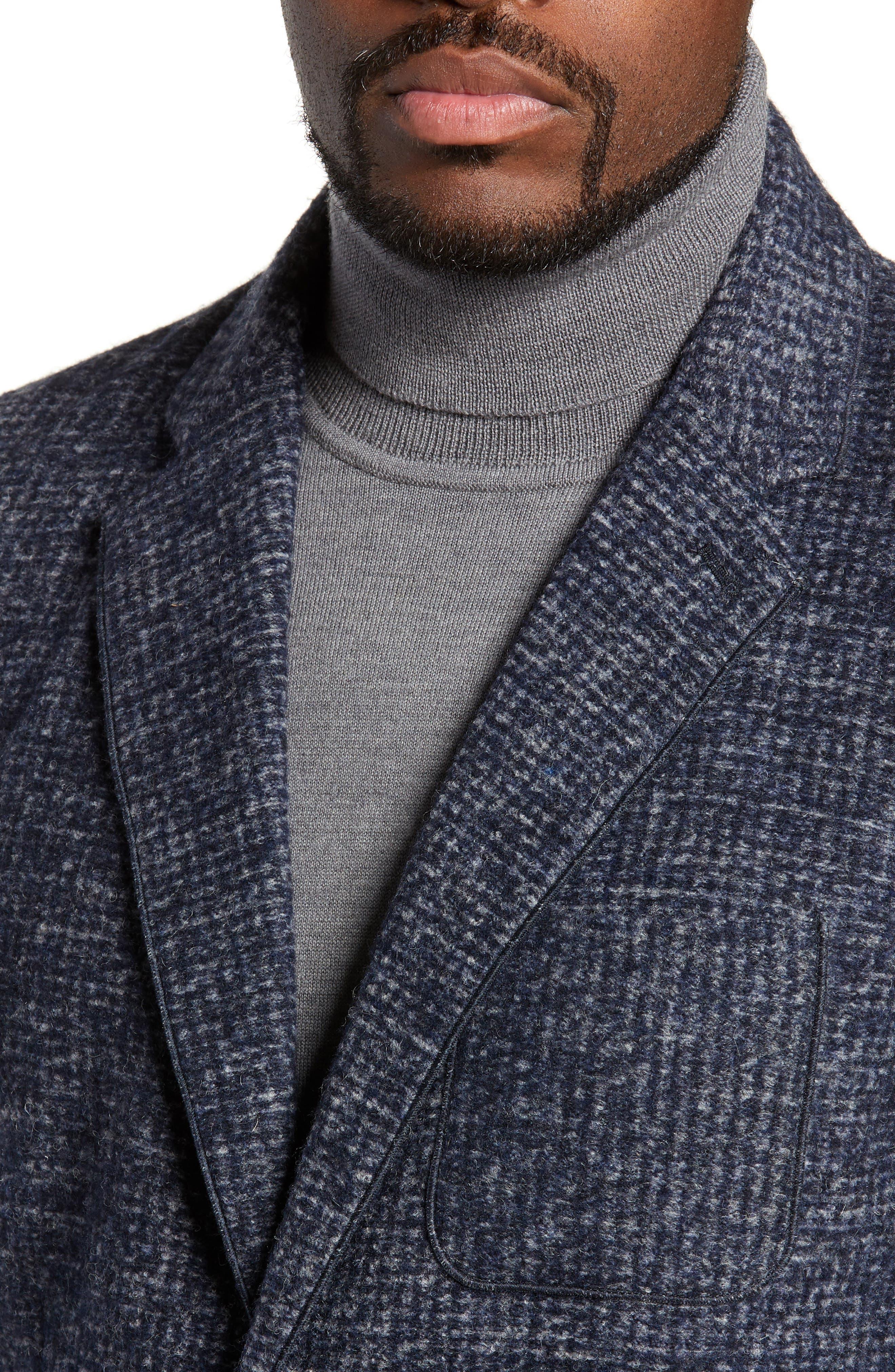 Randolph Houndstooth Knit Sport Coat,                             Alternate thumbnail 4, color,                             DARK BLUE