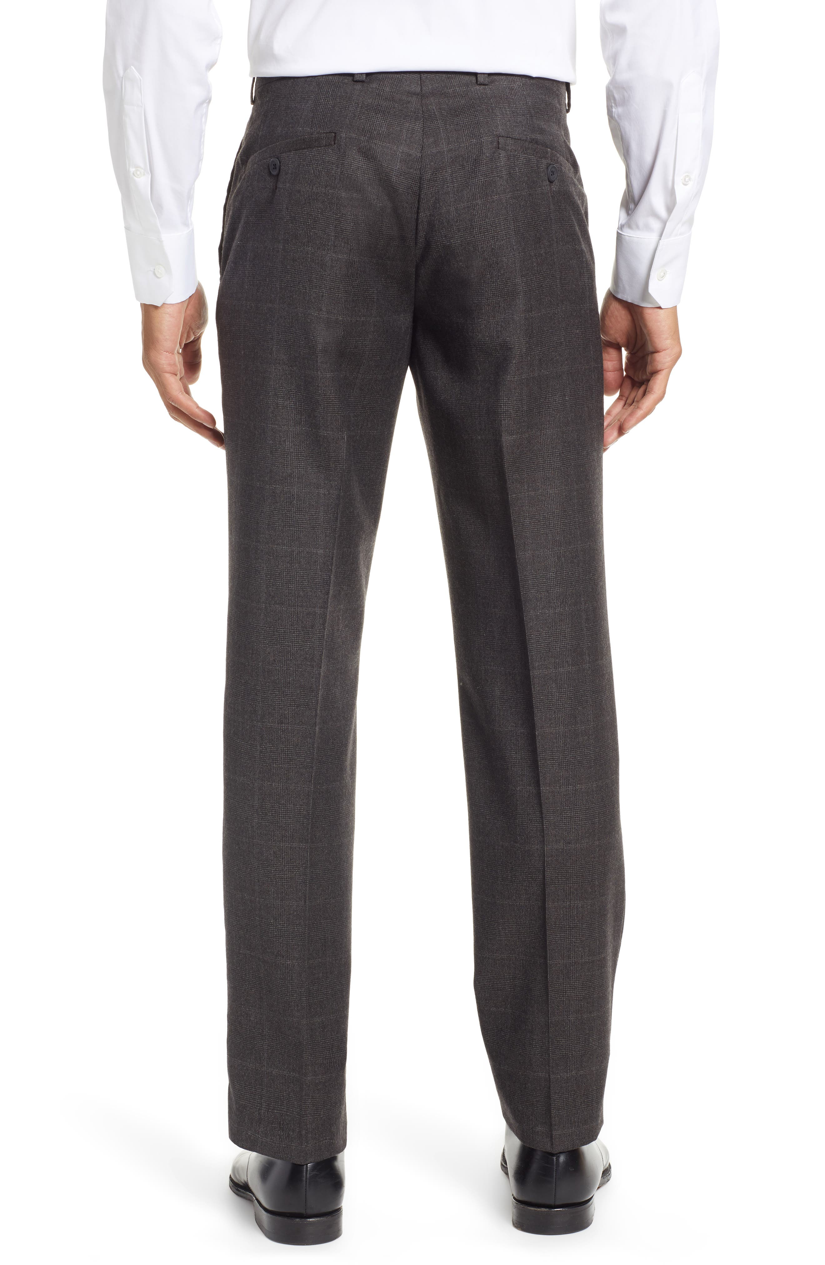 Trim Fit Flat Front Wool Trousers,                             Alternate thumbnail 2, color,                             BLACK