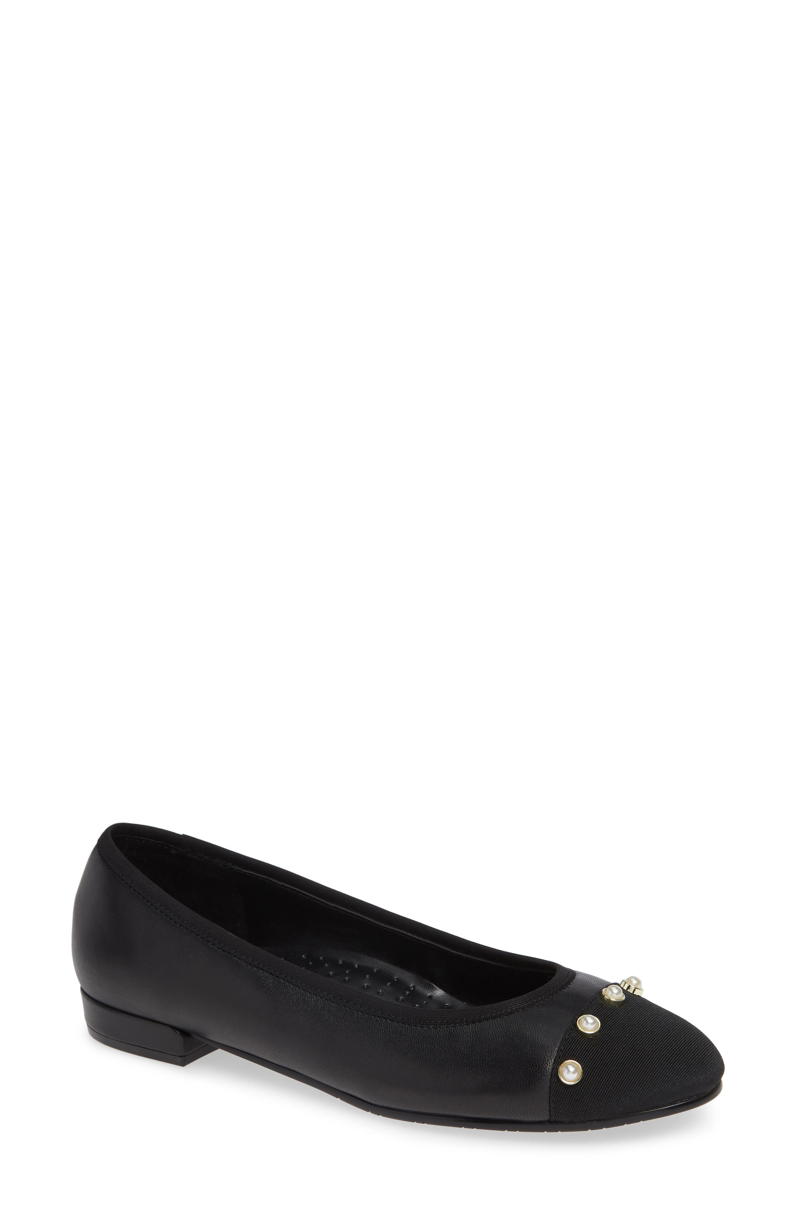 Umber Embellished Cap Toe Flat,                             Main thumbnail 1, color,                             BLACK NAPPA