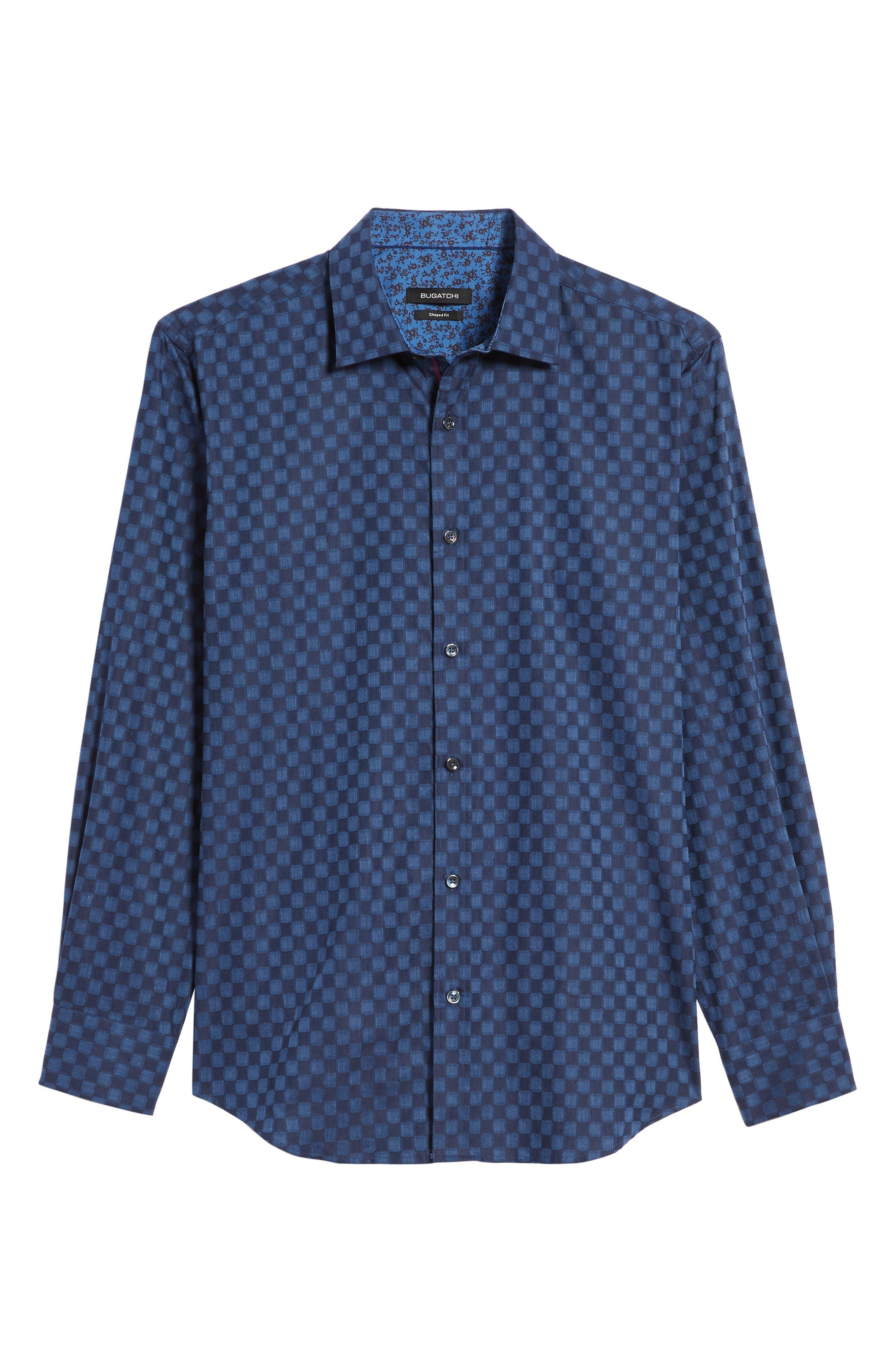 Slim Fit Square Jacquard Sport Shirt,                             Alternate thumbnail 6, color,                             408