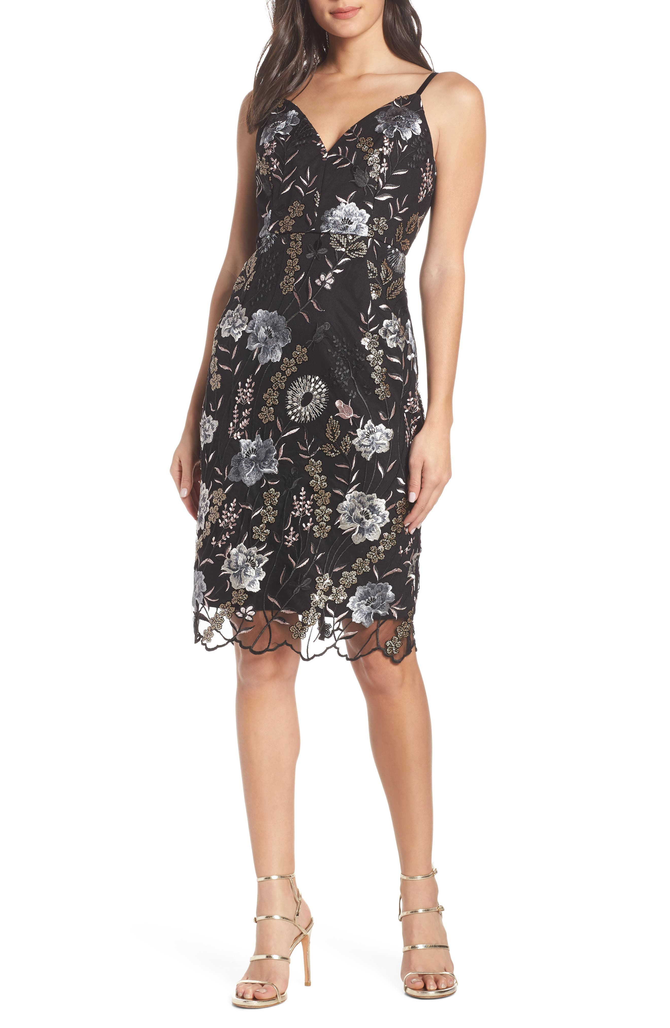 BRONX AND BANCO Tiara Flower Embroidered Evening Dress in Black