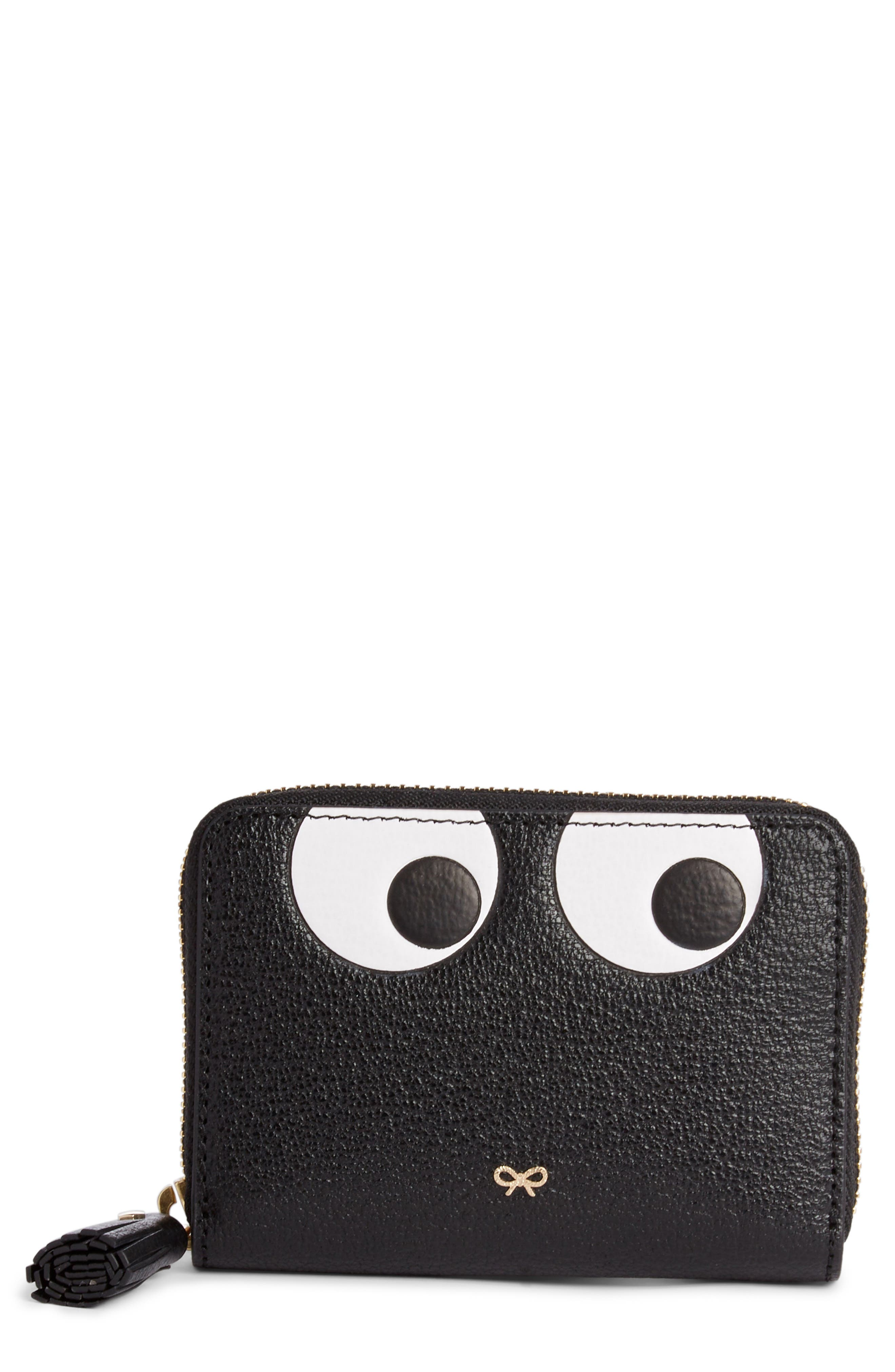 Eyes Small Leather Zip Around Wallet,                             Main thumbnail 1, color,                             BLACK