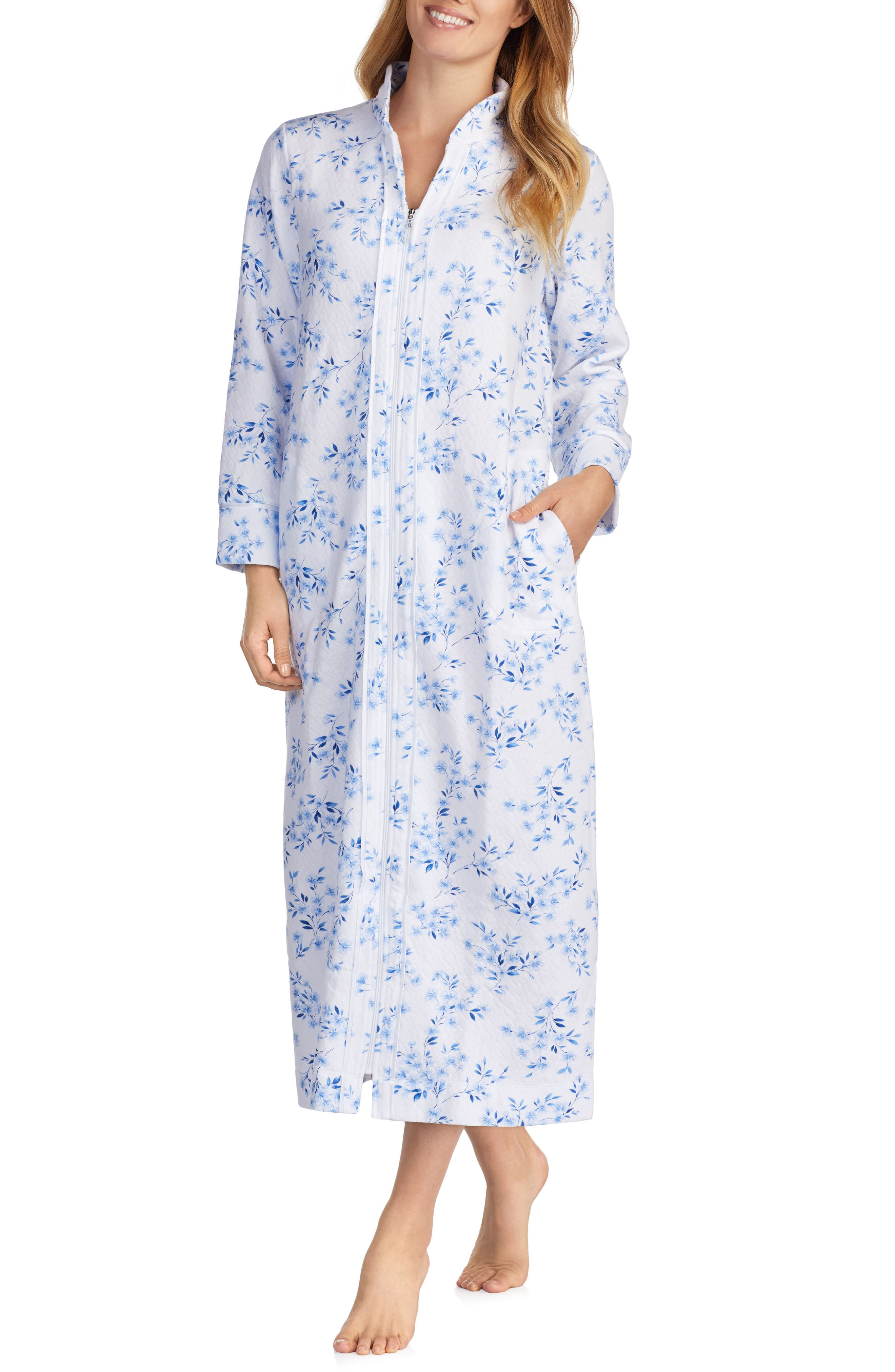 Quilted Robe,                             Main thumbnail 1, color,                             FLORAL TWIN