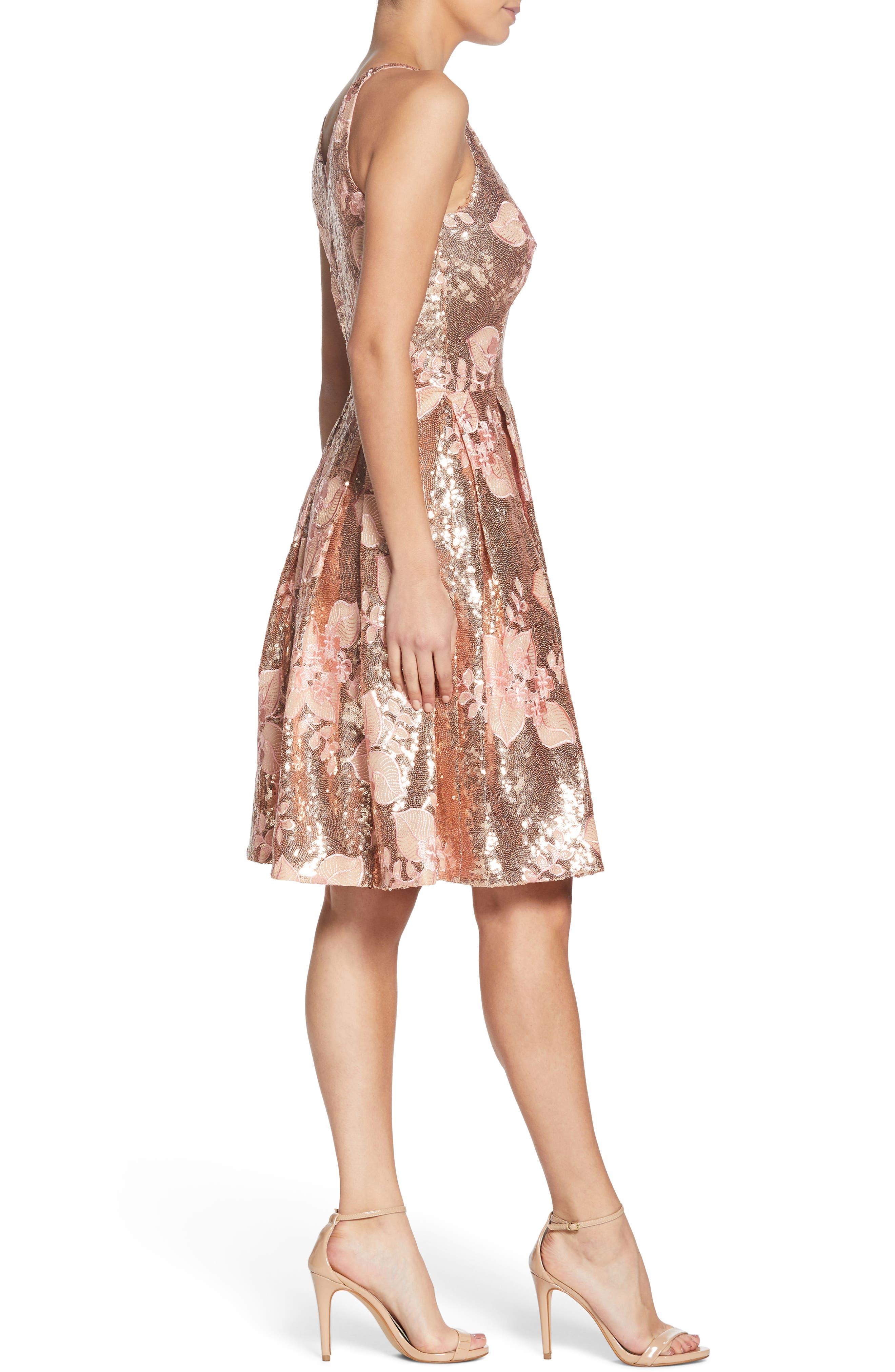 Collette Sequin Fit & Flare Dress,                             Alternate thumbnail 3, color,                             PINK/ GOLD
