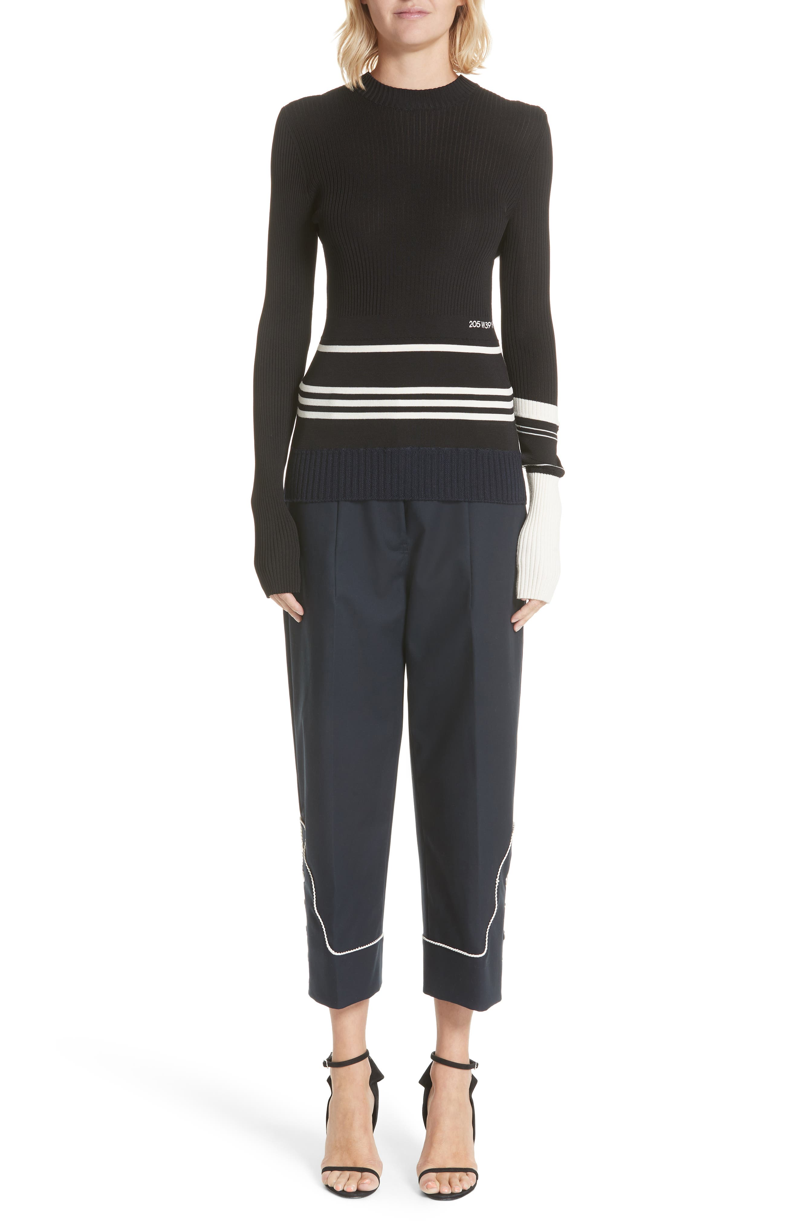 Varsity Stripe Colorblock Sweater,                             Alternate thumbnail 8, color,                             BLACK IVORY NAVY