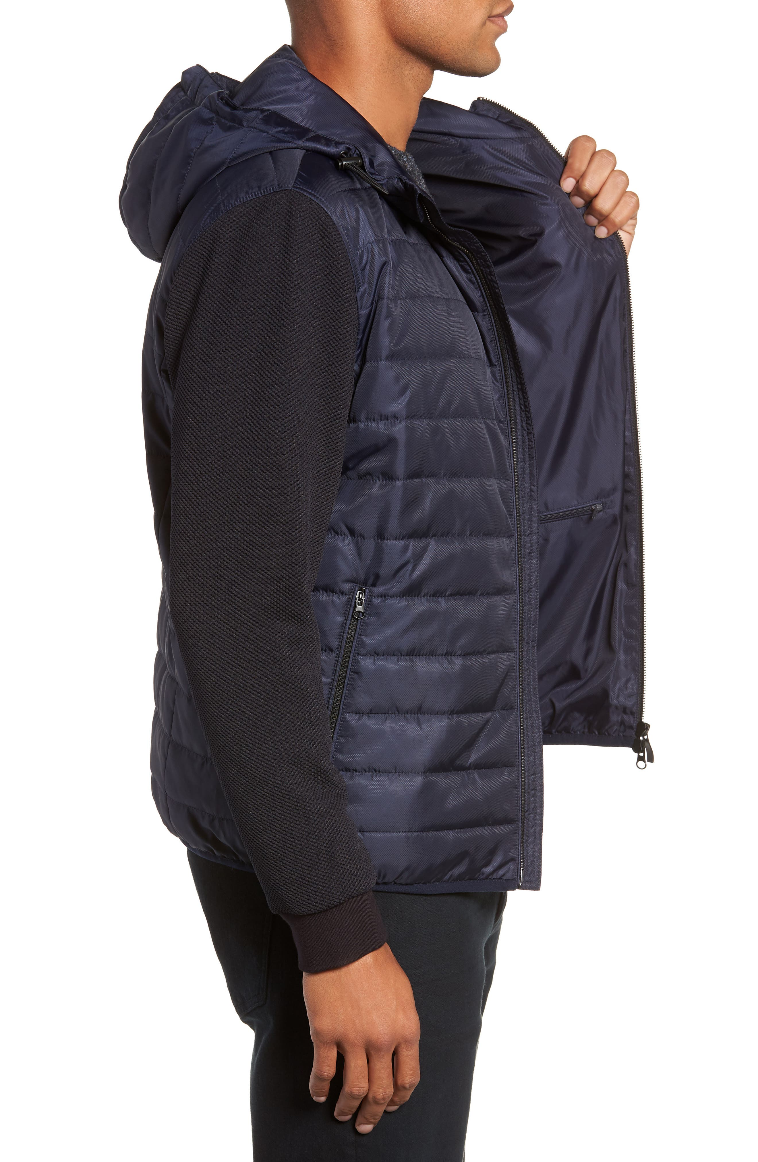 Slim Fit Quilted Performance Jacket,                             Alternate thumbnail 3, color,                             NAVY