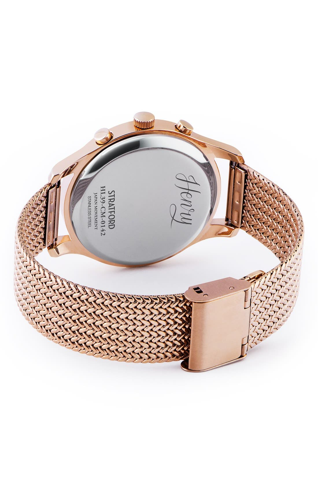 'Stratford' Chronograph Mesh Strap Watch, 38mm,                             Alternate thumbnail 3, color,                             ROSE GOLD/ TEAL