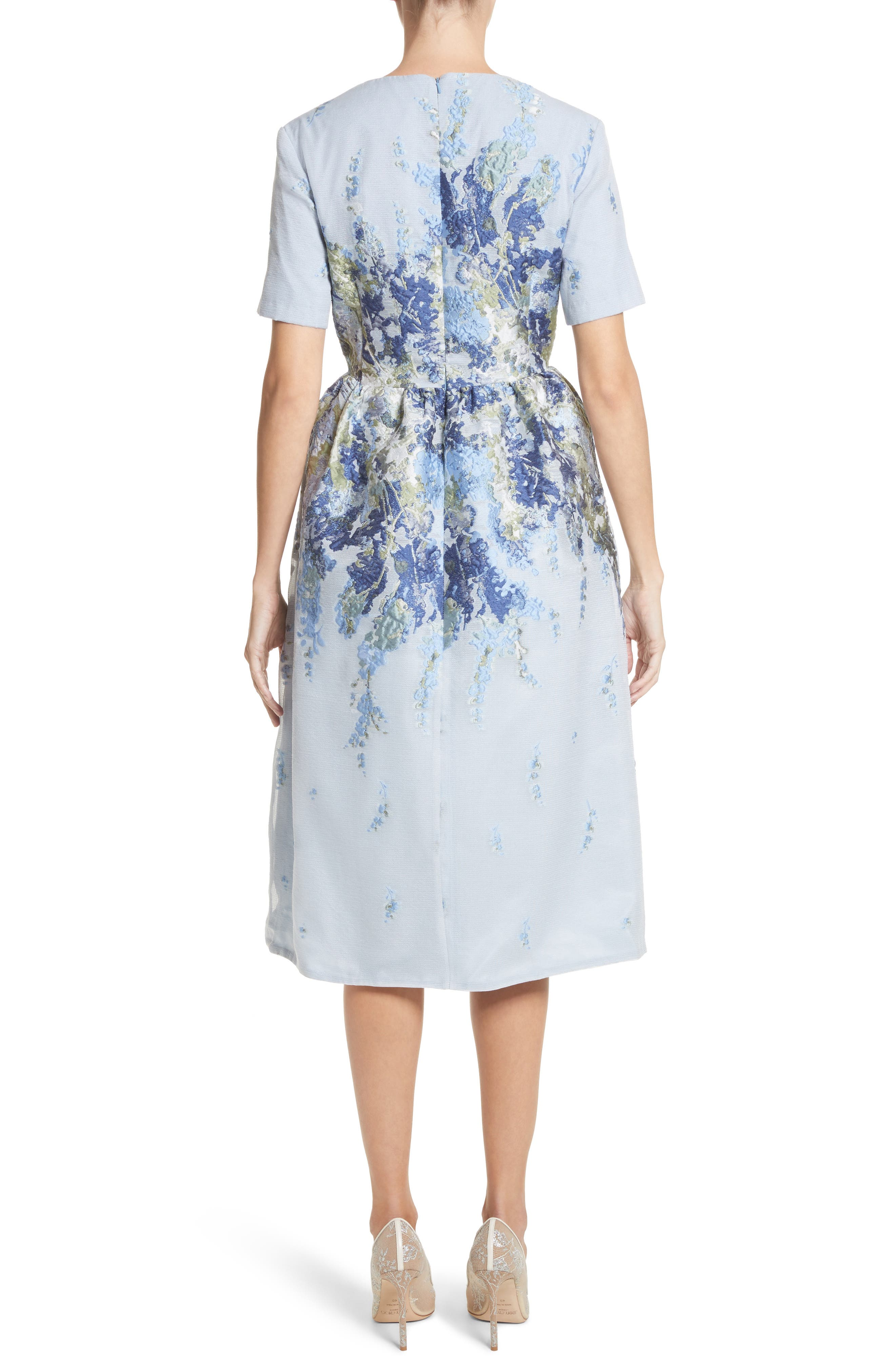 Floral Embroidered Mesh Jacquard Dress,                             Alternate thumbnail 2, color,                             450