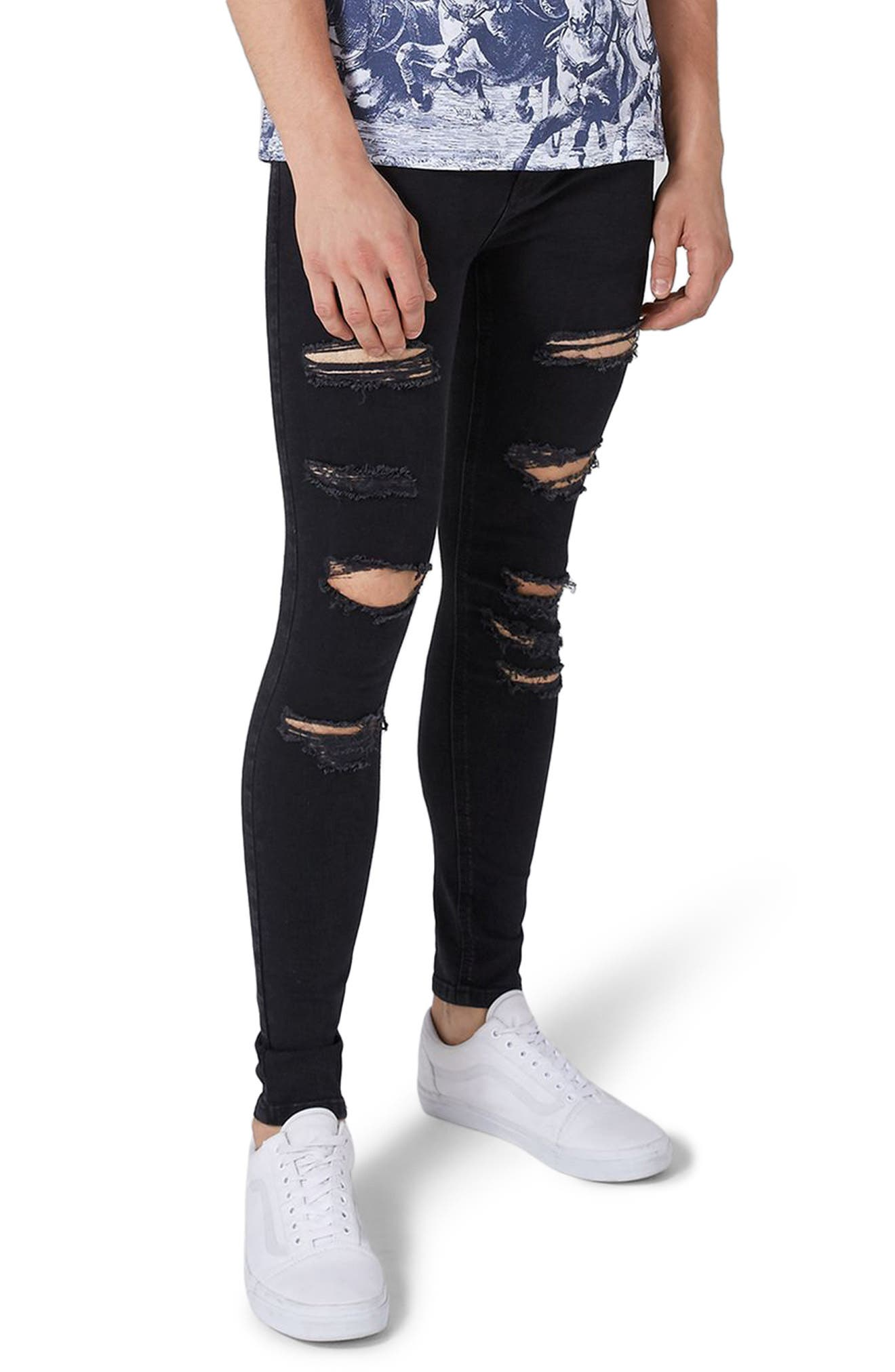 TOPMAN,                             Skinny Spray On Ripped Jeans,                             Main thumbnail 1, color,                             001