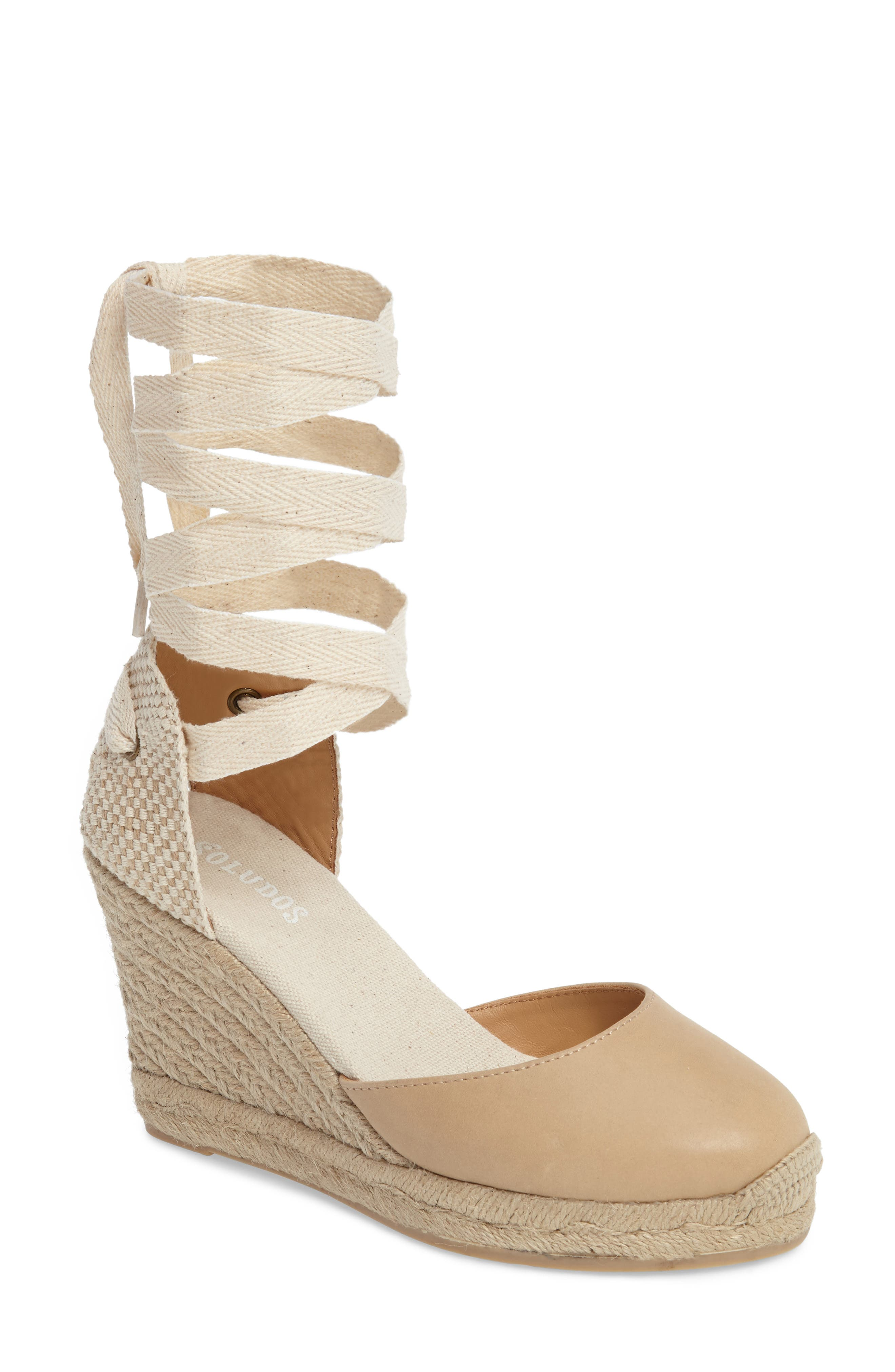 Lace-Up Espadrille Wedge,                         Main,                         color, 250