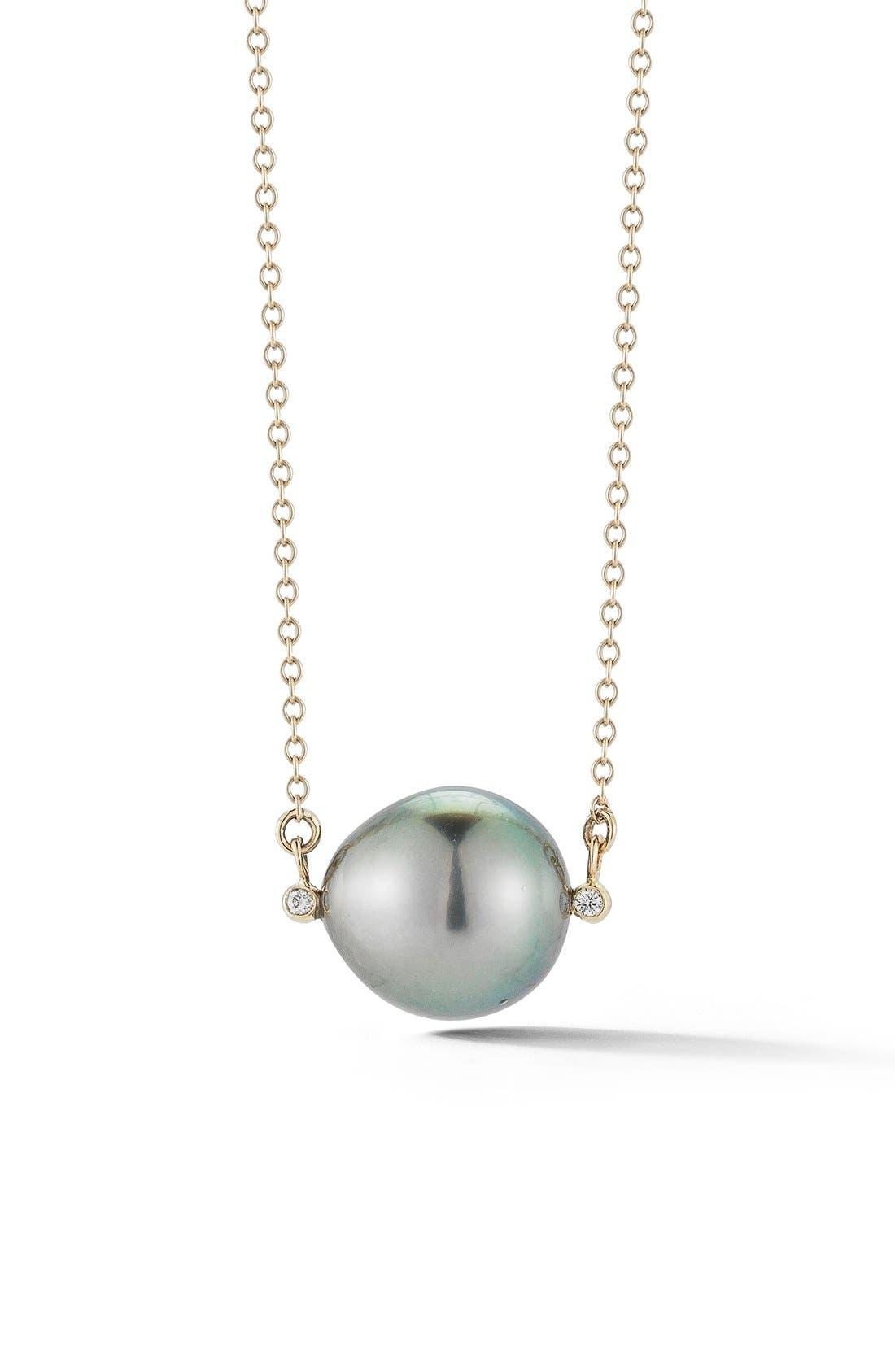 Pearl Pendant Necklace,                             Main thumbnail 1, color,                             BLACK TAHITIAN PEARL