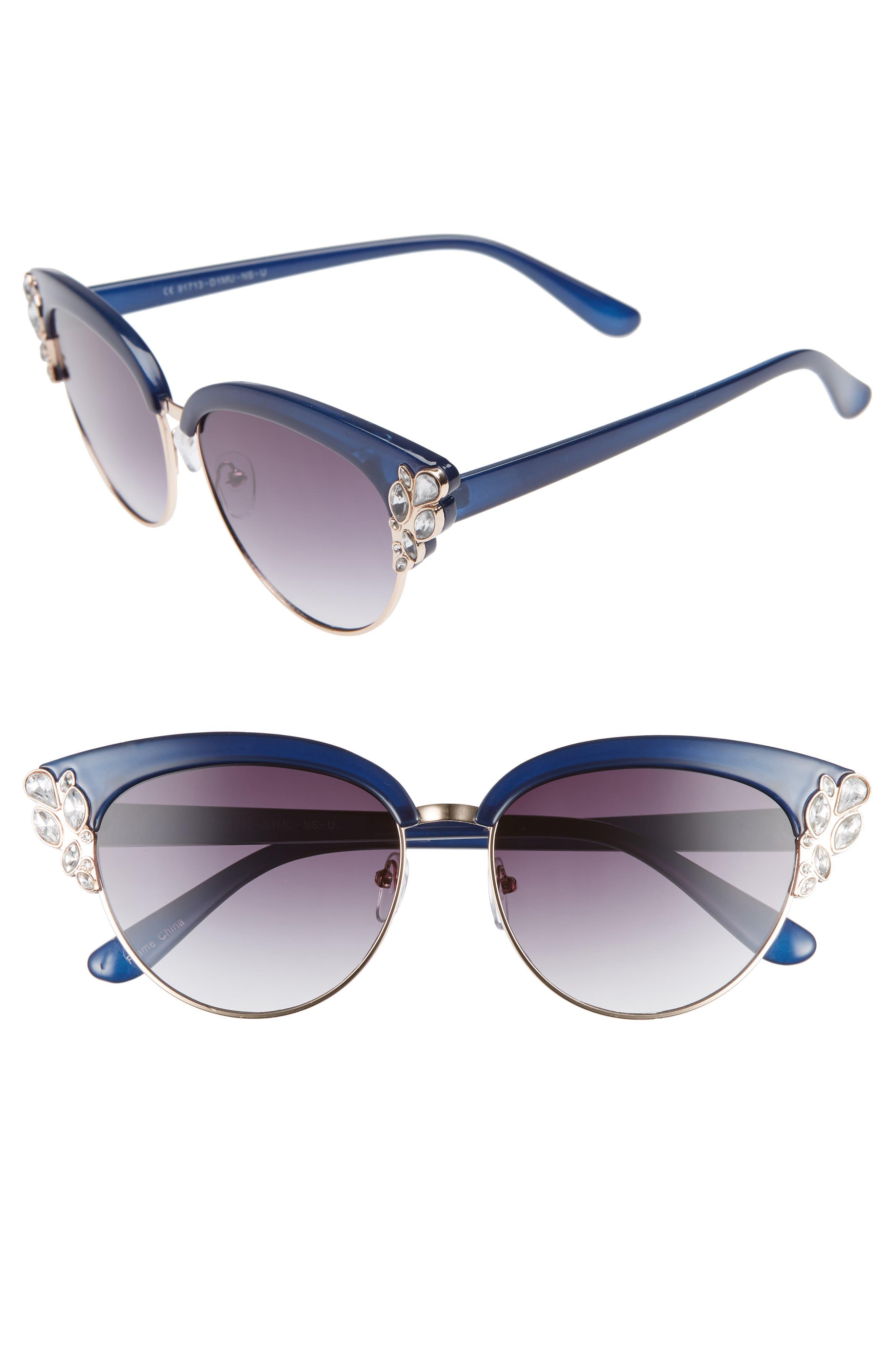 58mm Embellished Cat Eye Sunglasses,                         Main,                         color, BLUE/ GOLD