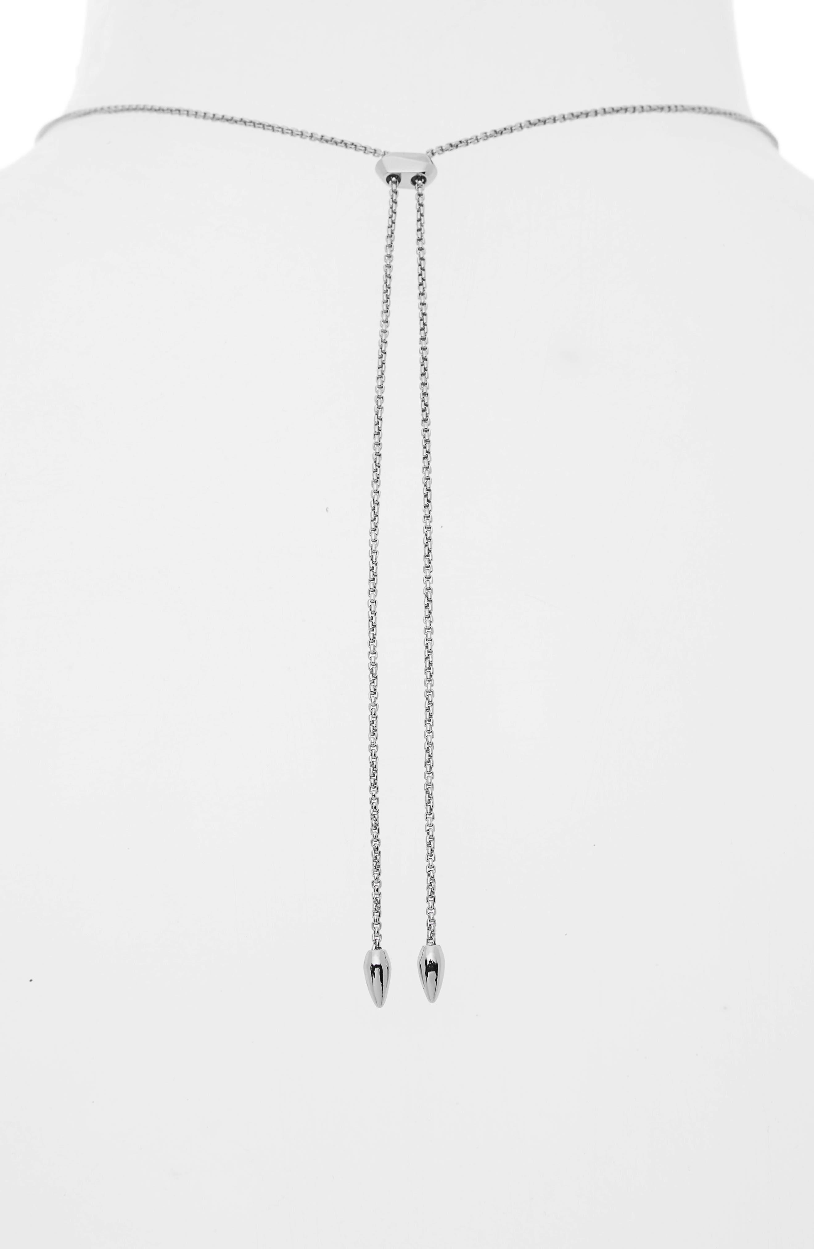 Kacey Adjustable Pendant Necklace,                             Alternate thumbnail 4, color,                             SILVER FILIGREE