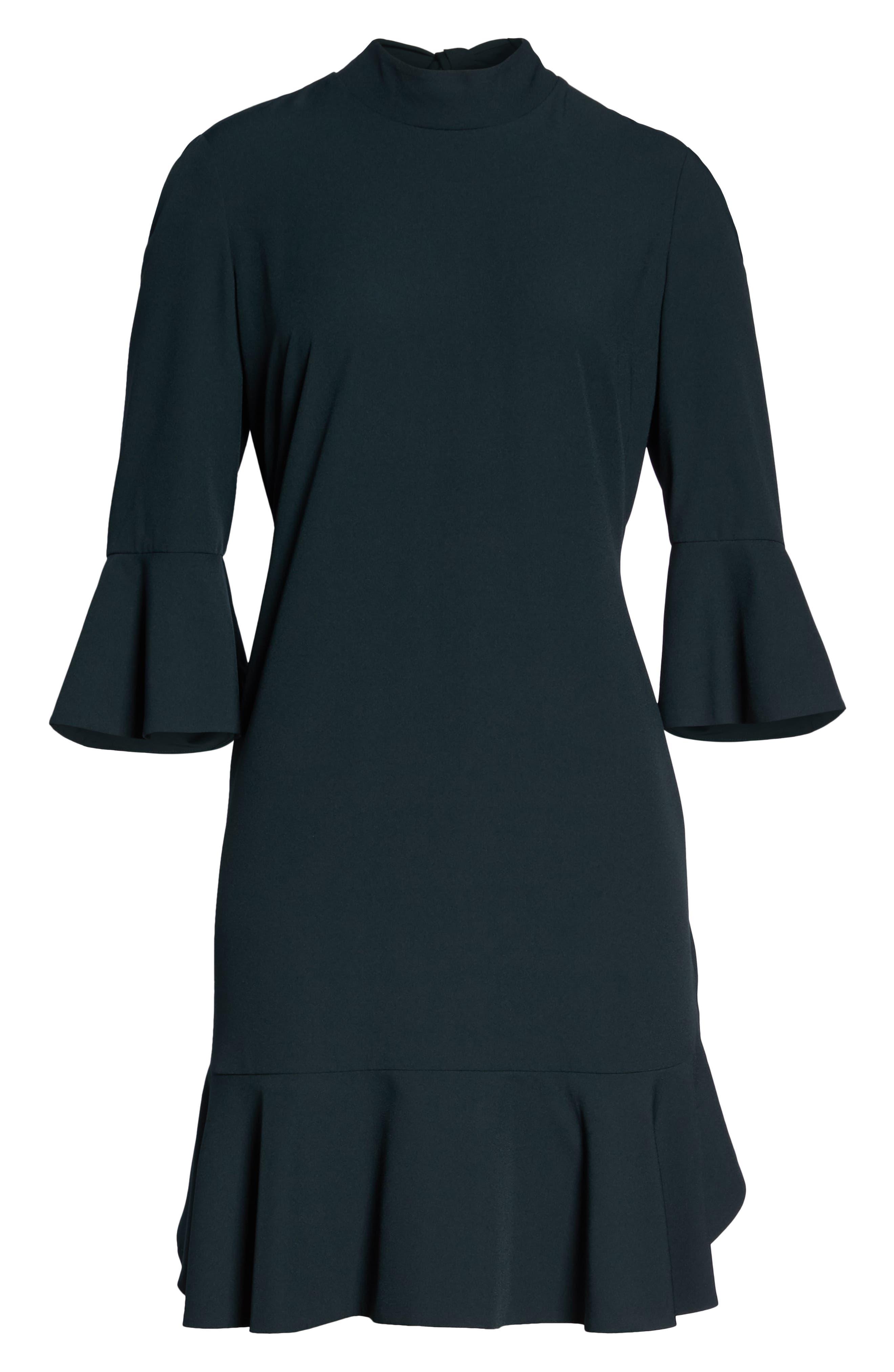 Bell Sleeve Dress,                             Alternate thumbnail 7, color,                             GREEN BUG
