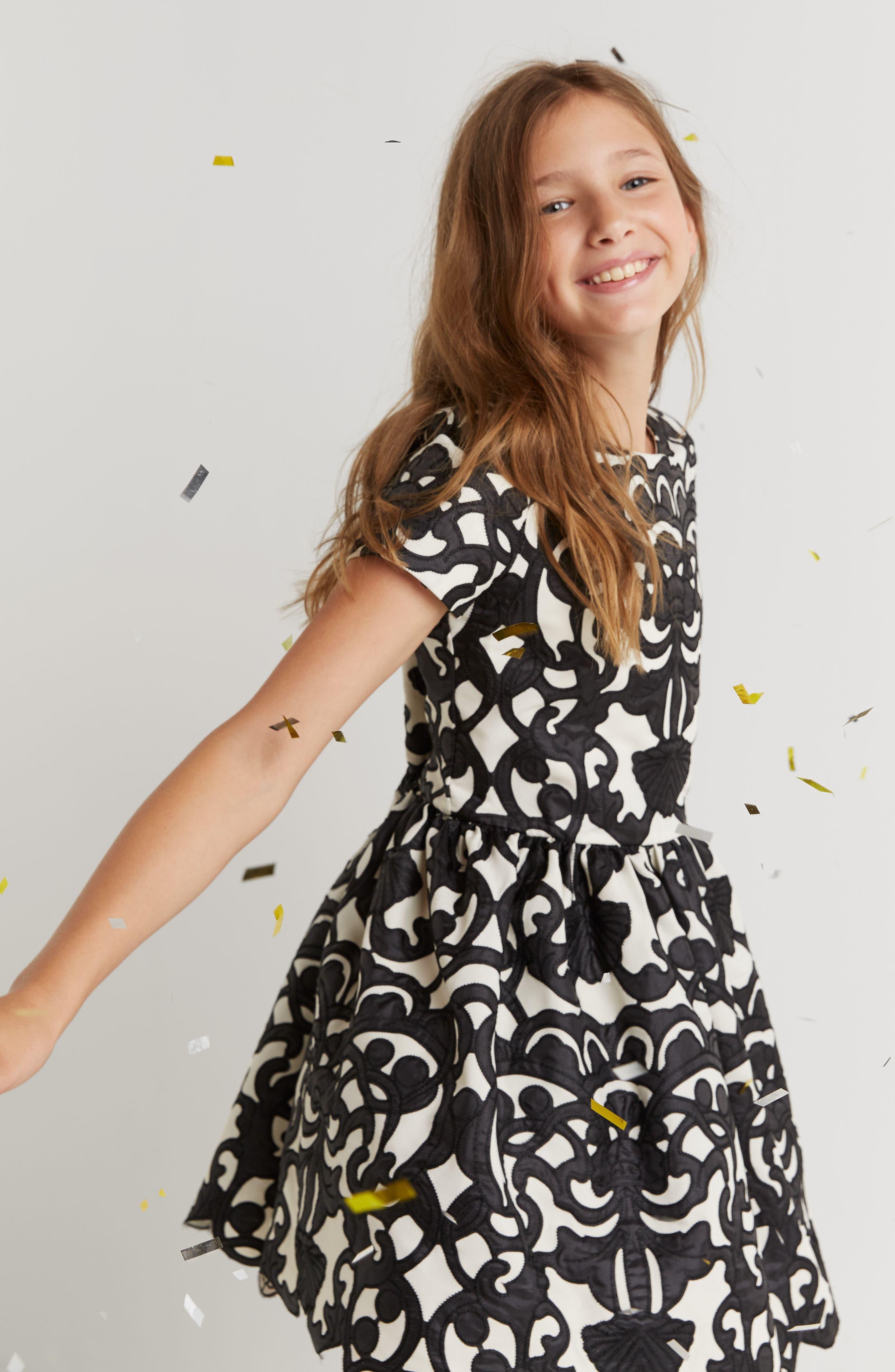 Laser Cut Appliqué Dress,                             Alternate thumbnail 7, color,                             001
