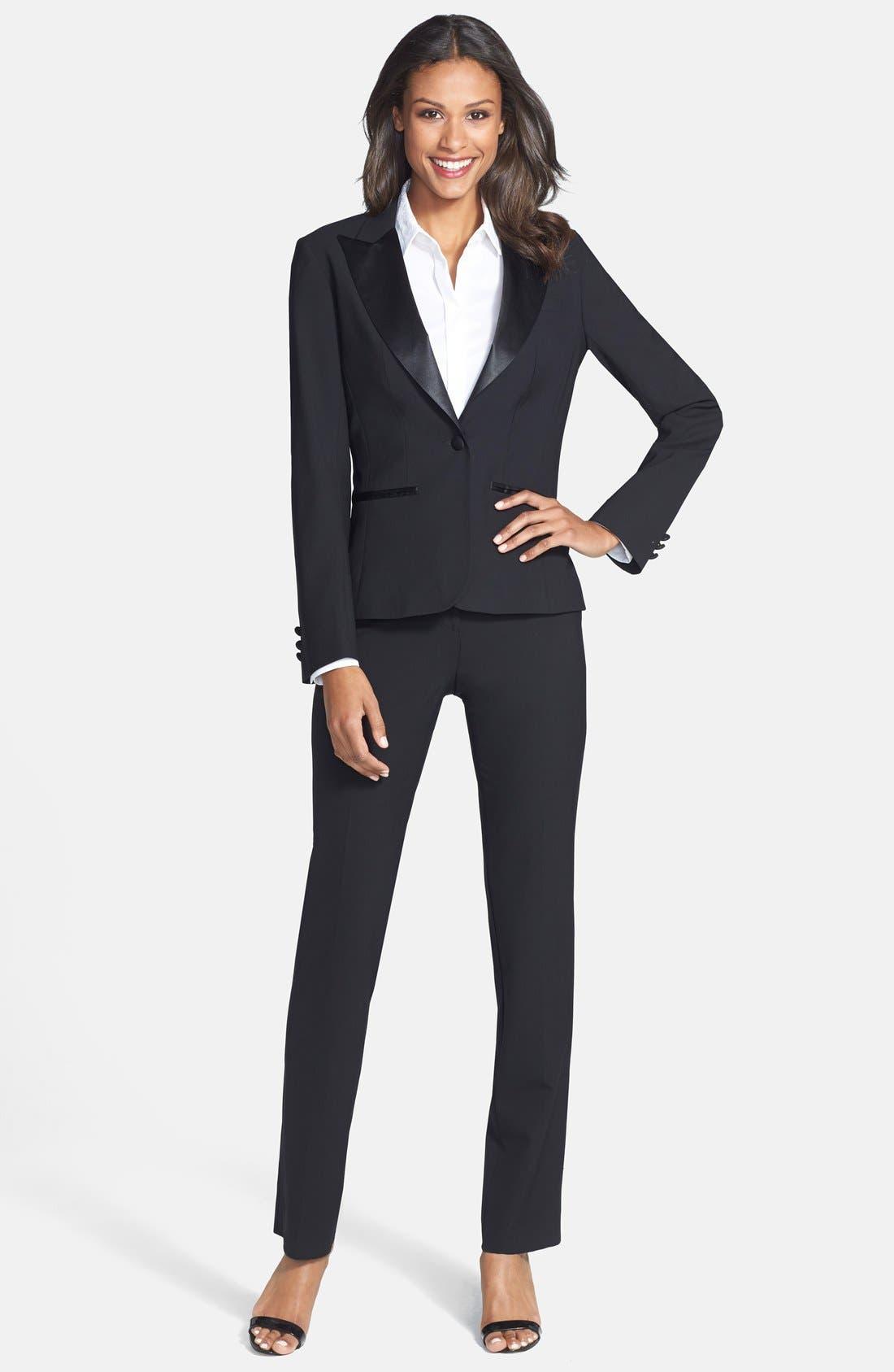 Stretch Wool Tuxedo Jacket,                             Alternate thumbnail 3, color,                             BLACK