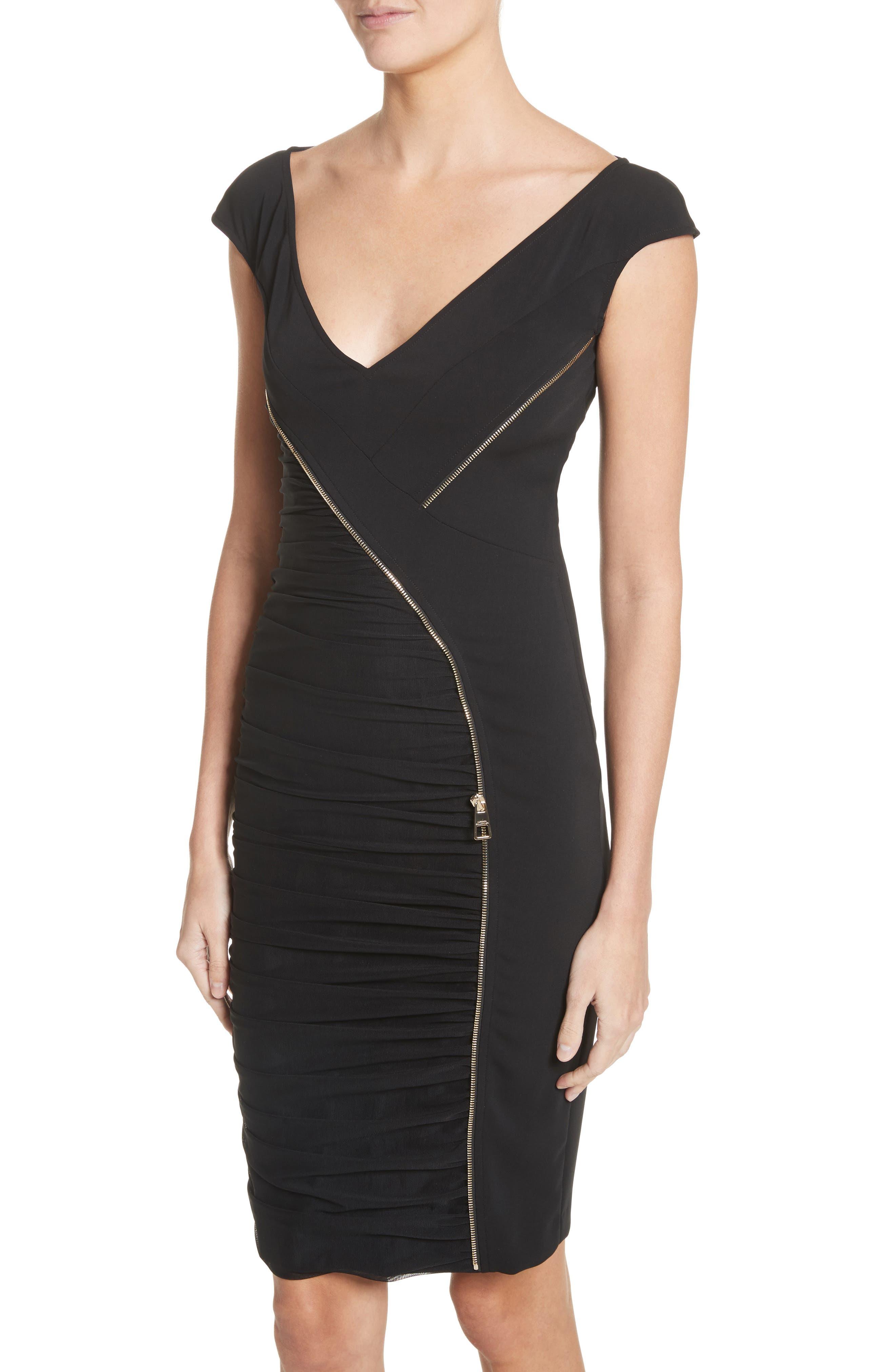 Zipper Detail Sheath Dress,                             Alternate thumbnail 4, color,                             001