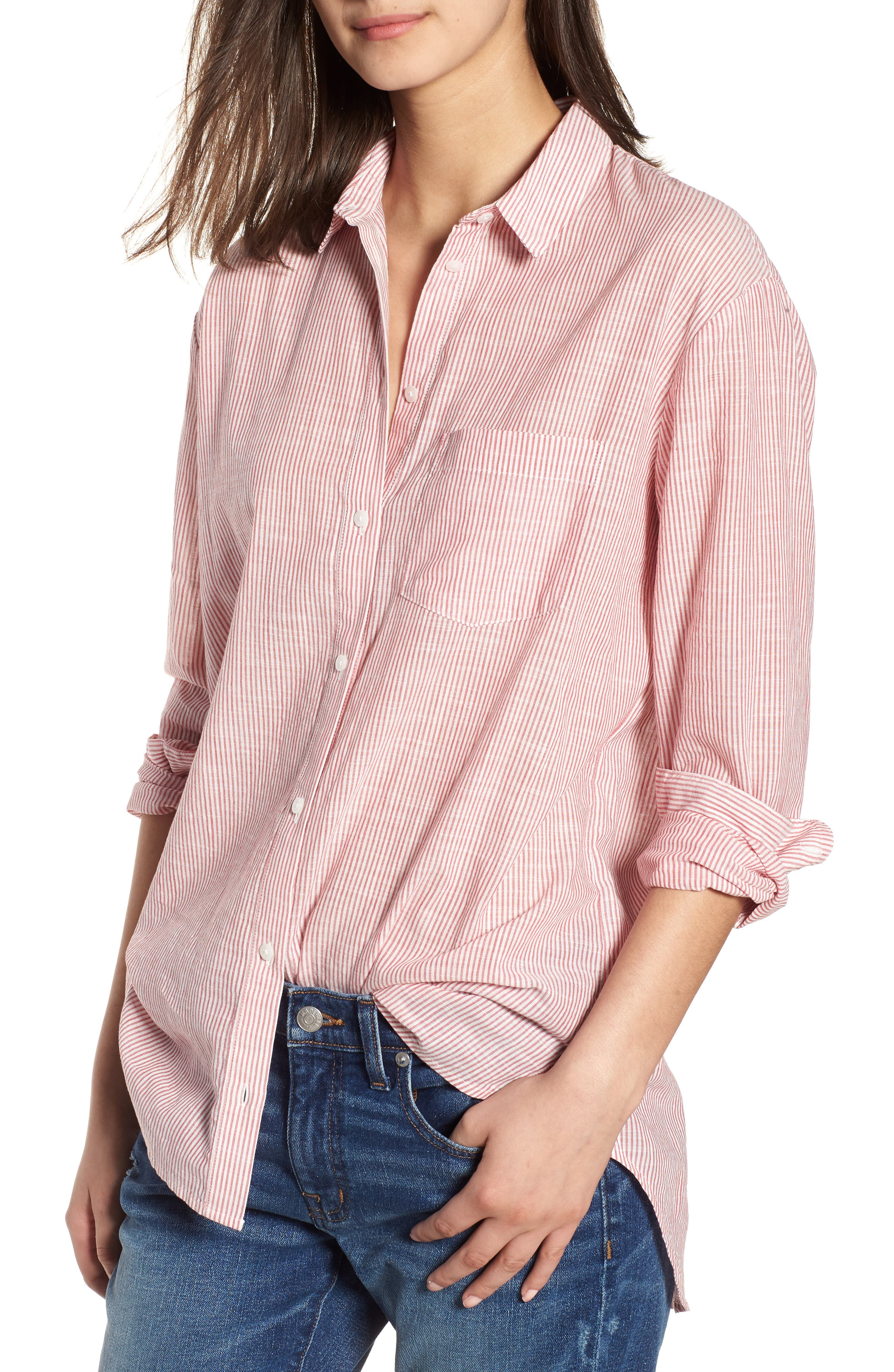 Stripe Oversize Ex-Boyfriend Shirt,                         Main,                         color, 600