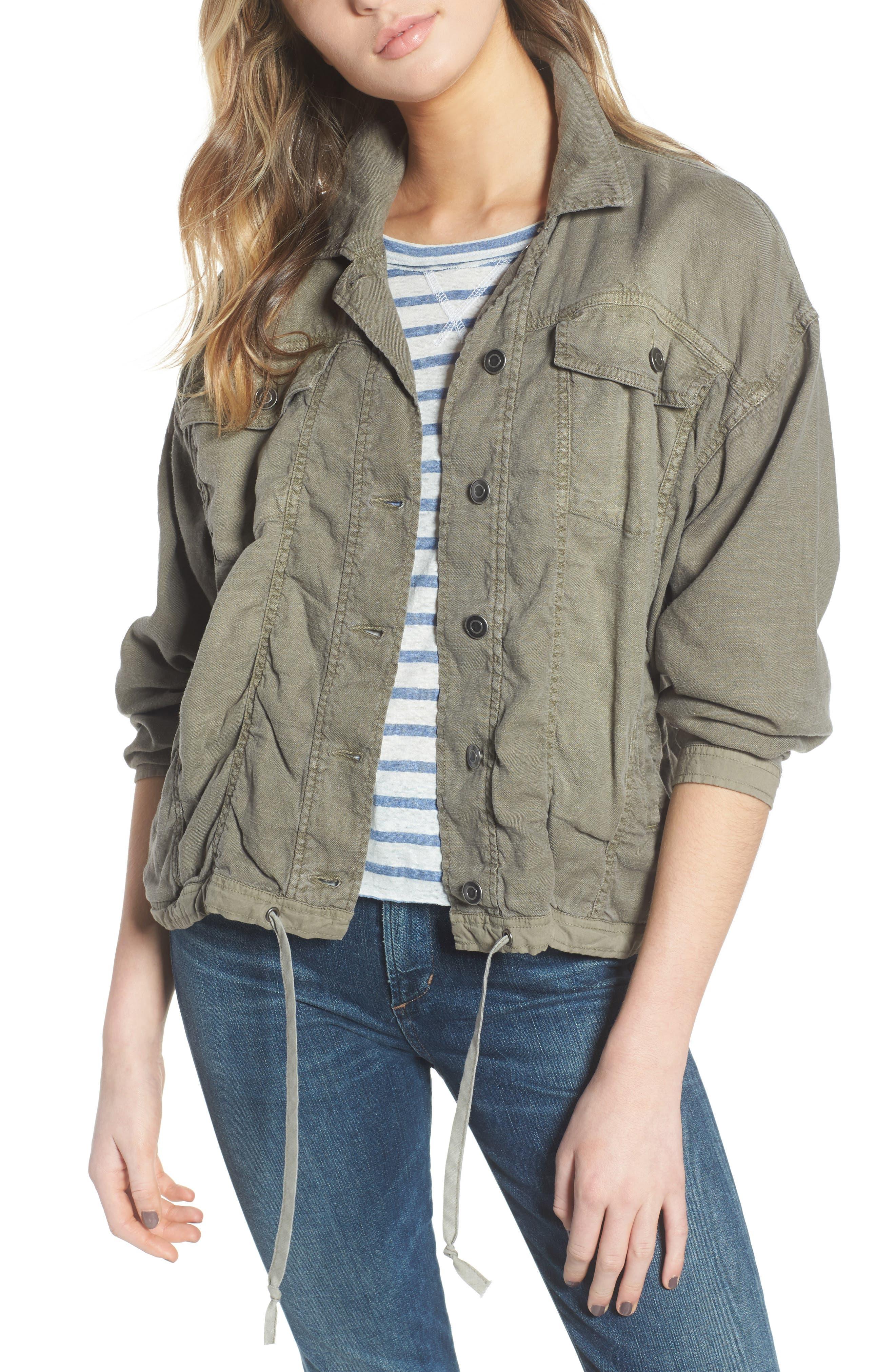 Linen Blend Drape Jacket,                         Main,                         color,