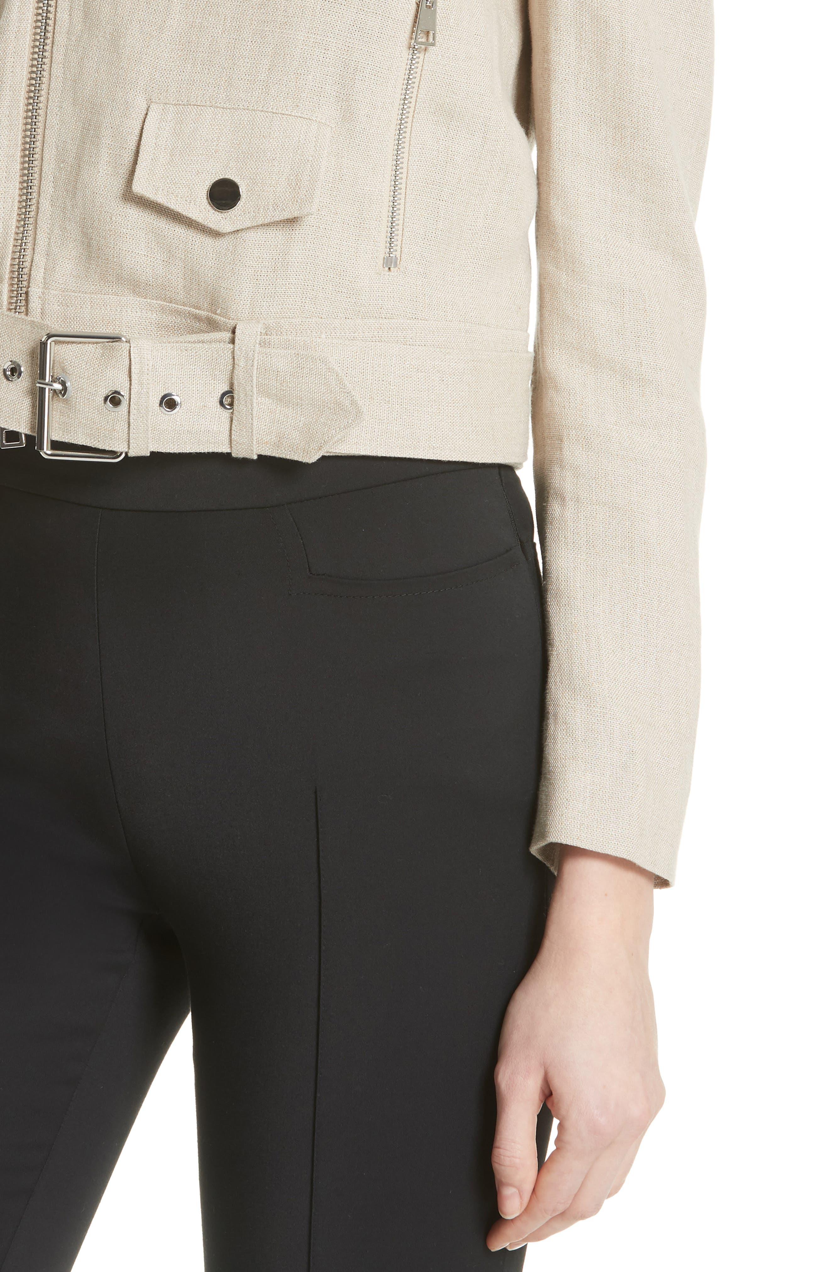 Shrunken Linen Moto Jacket,                             Alternate thumbnail 4, color,